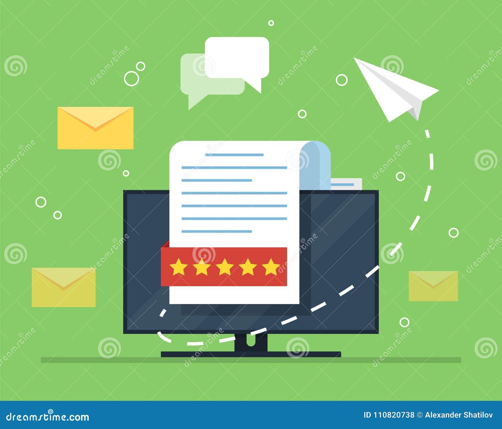 E-mail marketing Het concept een open e-mail met een genesteld document tegen de achtergrond van een computermonitor en a