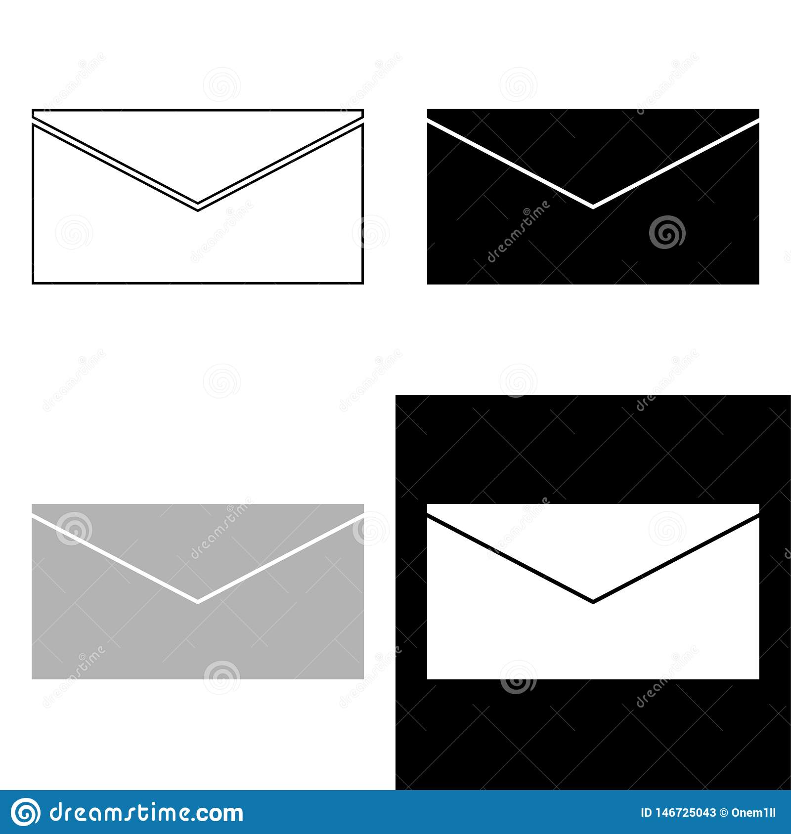 E-mail set vector icon isolated on white background