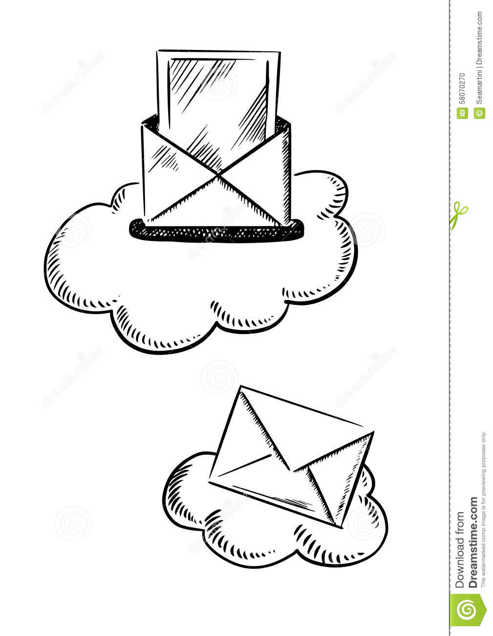 e mail symbols with letters and clouds