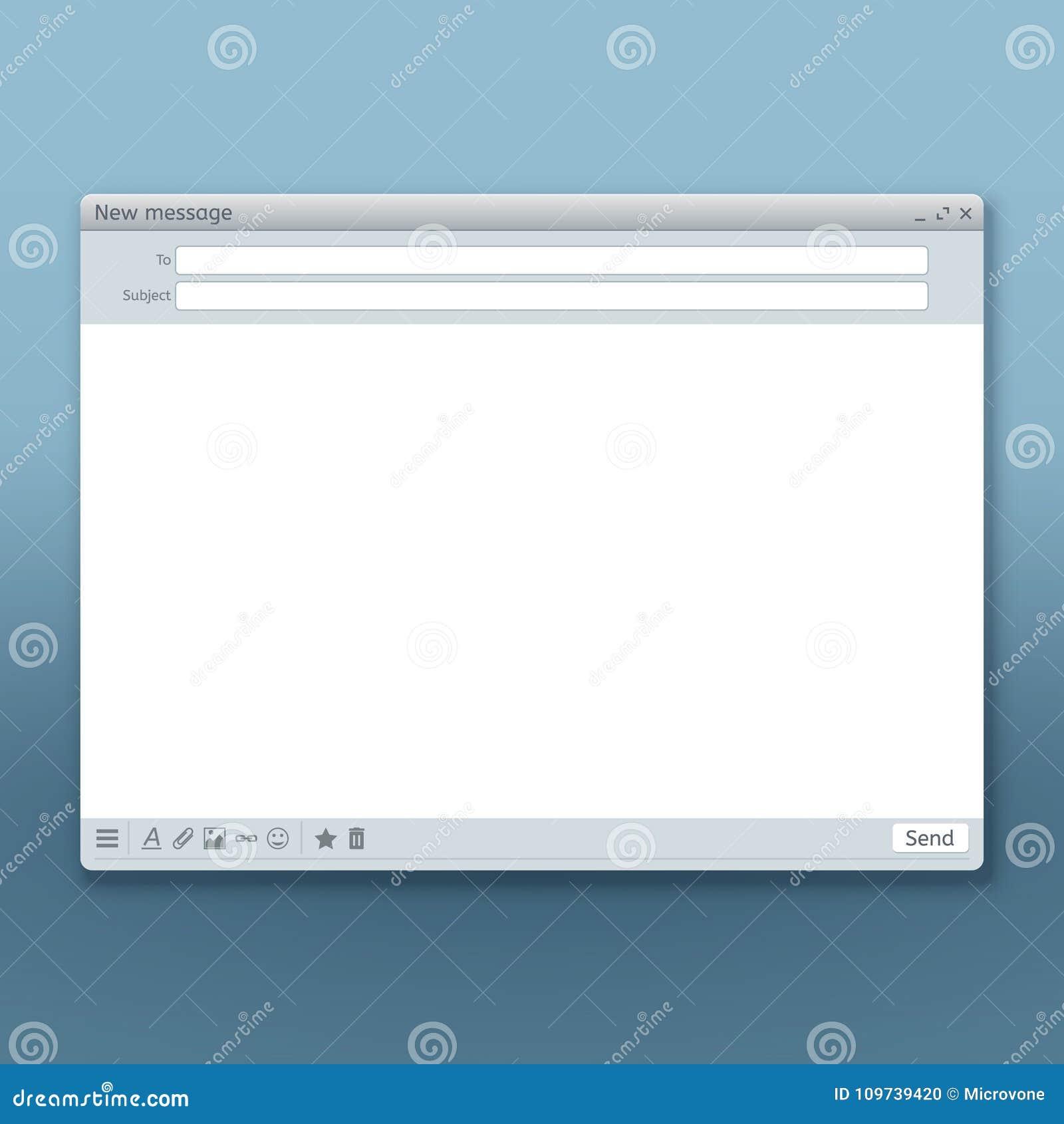 E-maila interfejs z wysyła formularzowego wektorowego szablon