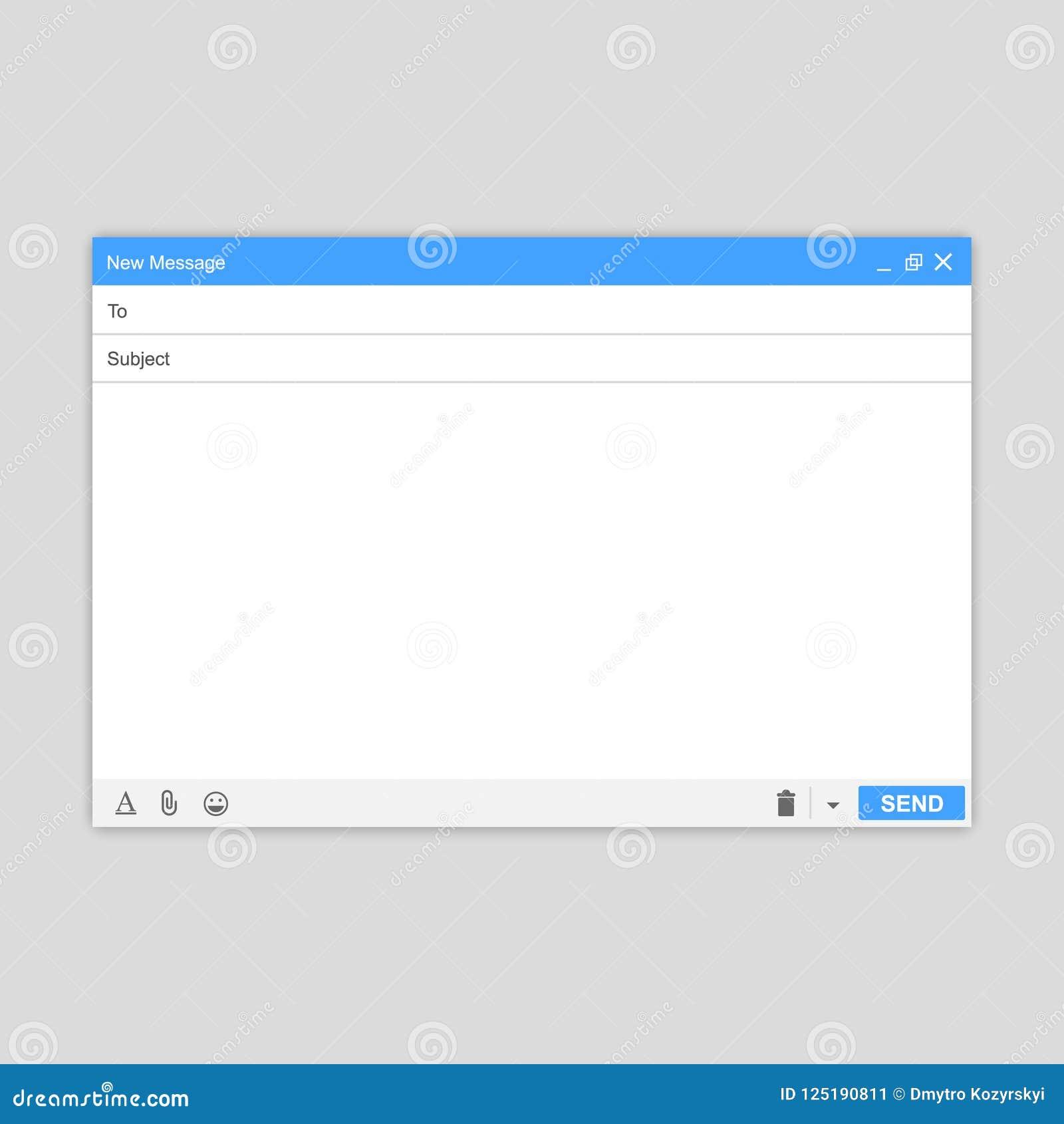 E-maila Pusty okno email, szablon E-mailowy pusty szablonu interneta poczta ramy interfejs dla poczta wiadomości