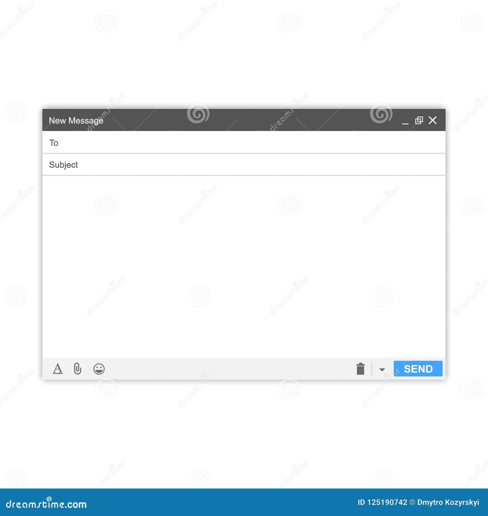 E-mailbericht Leeg venster van E-mail, malplaatje Interface van het de postkader van e-mail de lege malplaatjeinternet voor postb