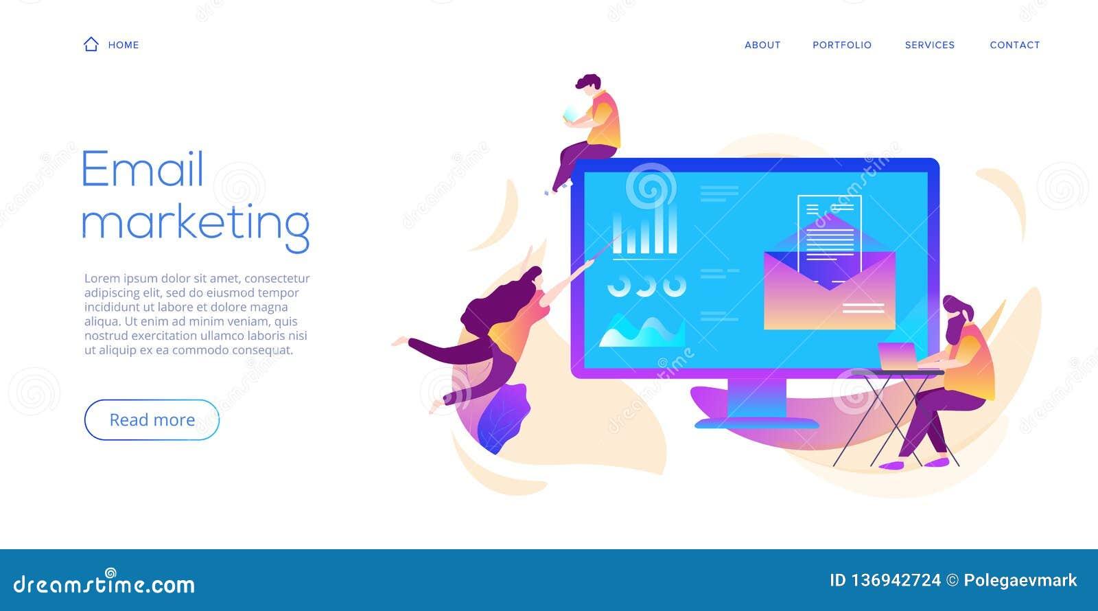 E-maildienst creatieve vlakke vectorillustratie Het concept van het elektronische postbericht als deel van bedrijfs marketing Web