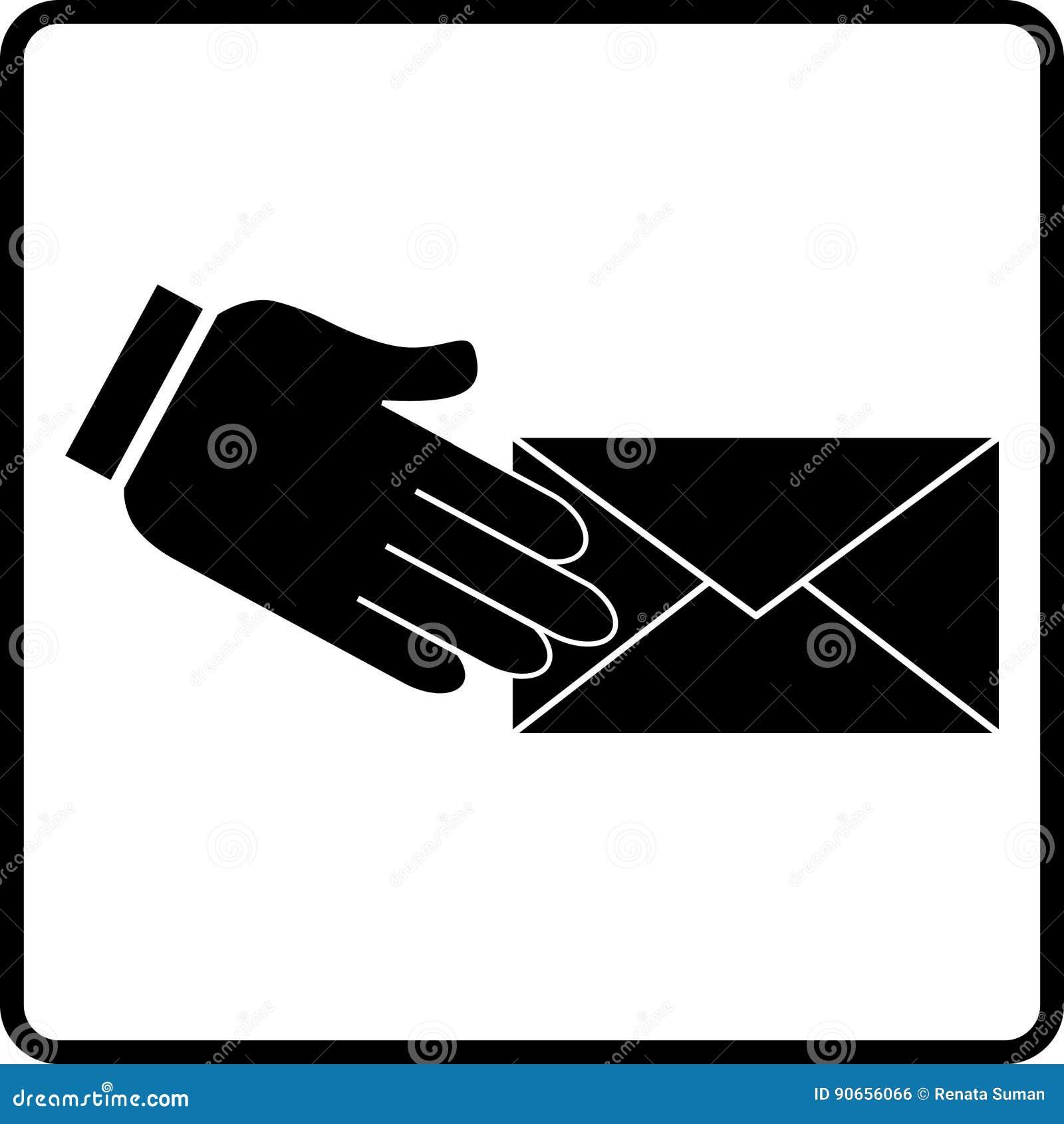 E-mailenvelop met hand