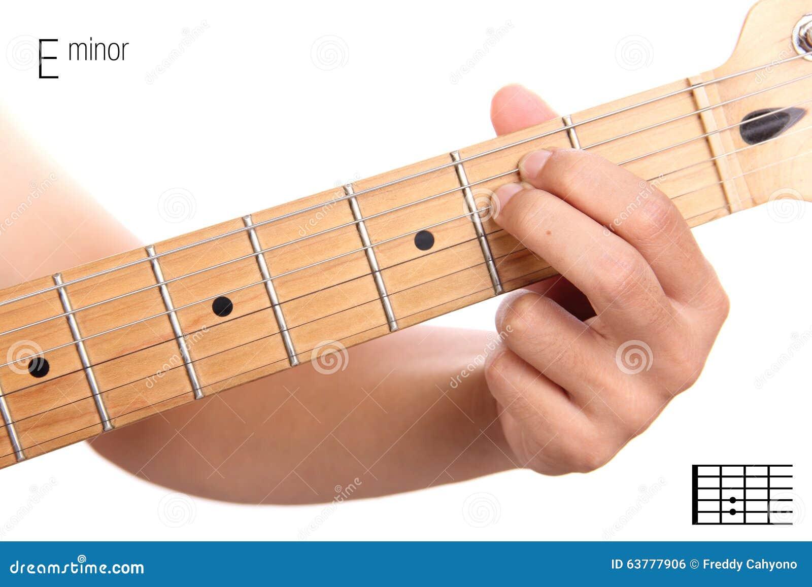 E Minor Guitar Chord Tutorial Stock Photo Image Of Education