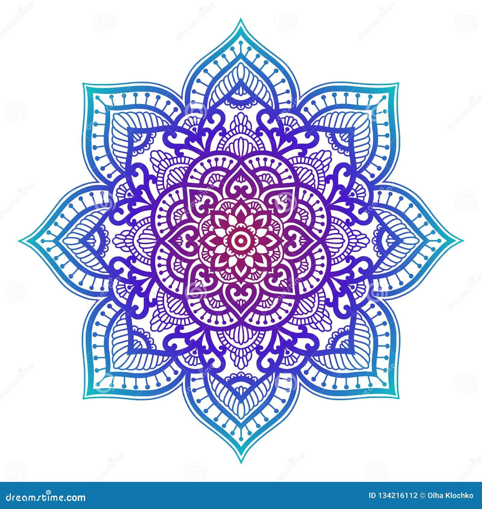 E Ornement ethnique de cercle Élément rond indien traditionnel tiré par la main Henné spirituel de yoga de méditation
