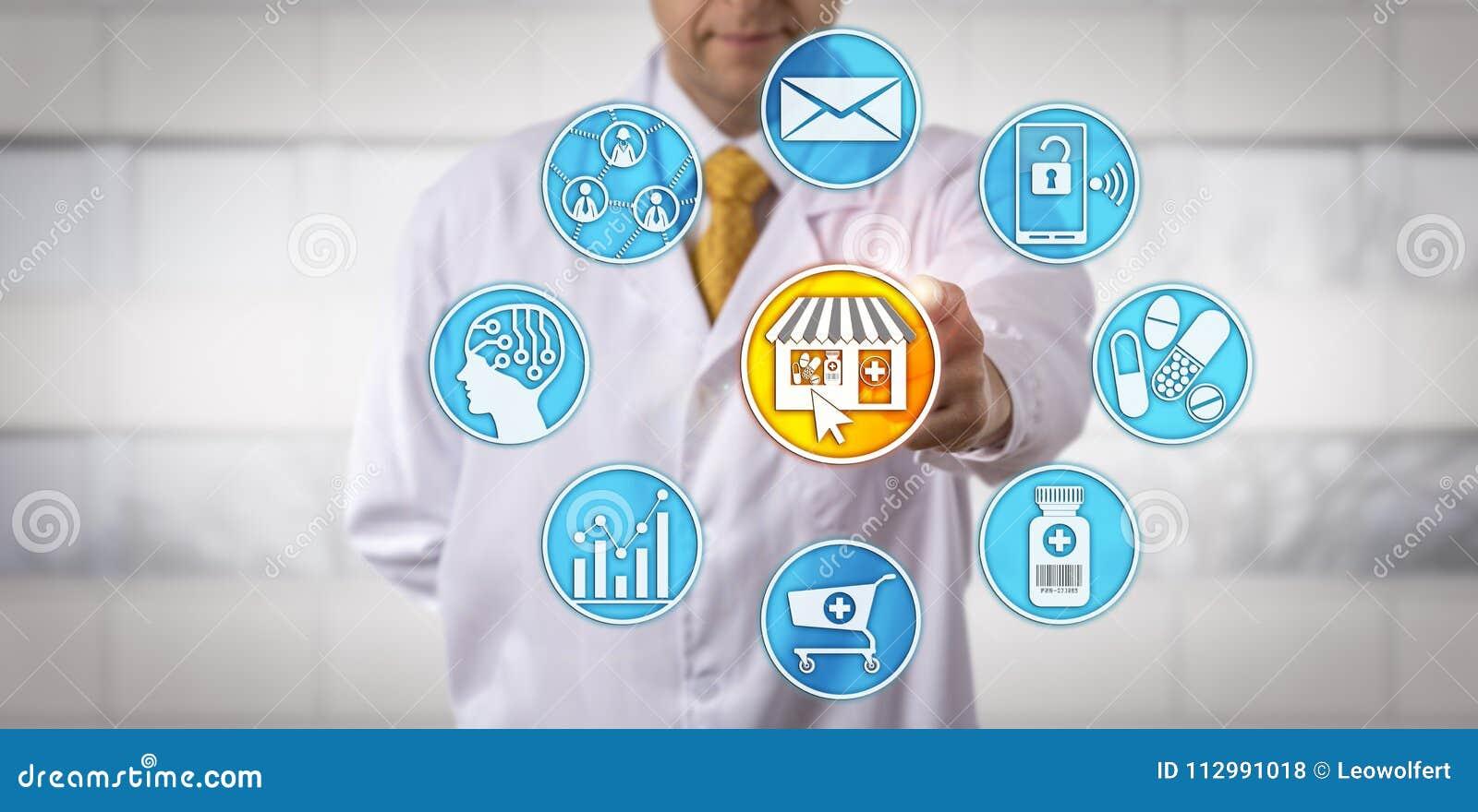 E-pharmacie au détail indépendante de Starting de pharmacien