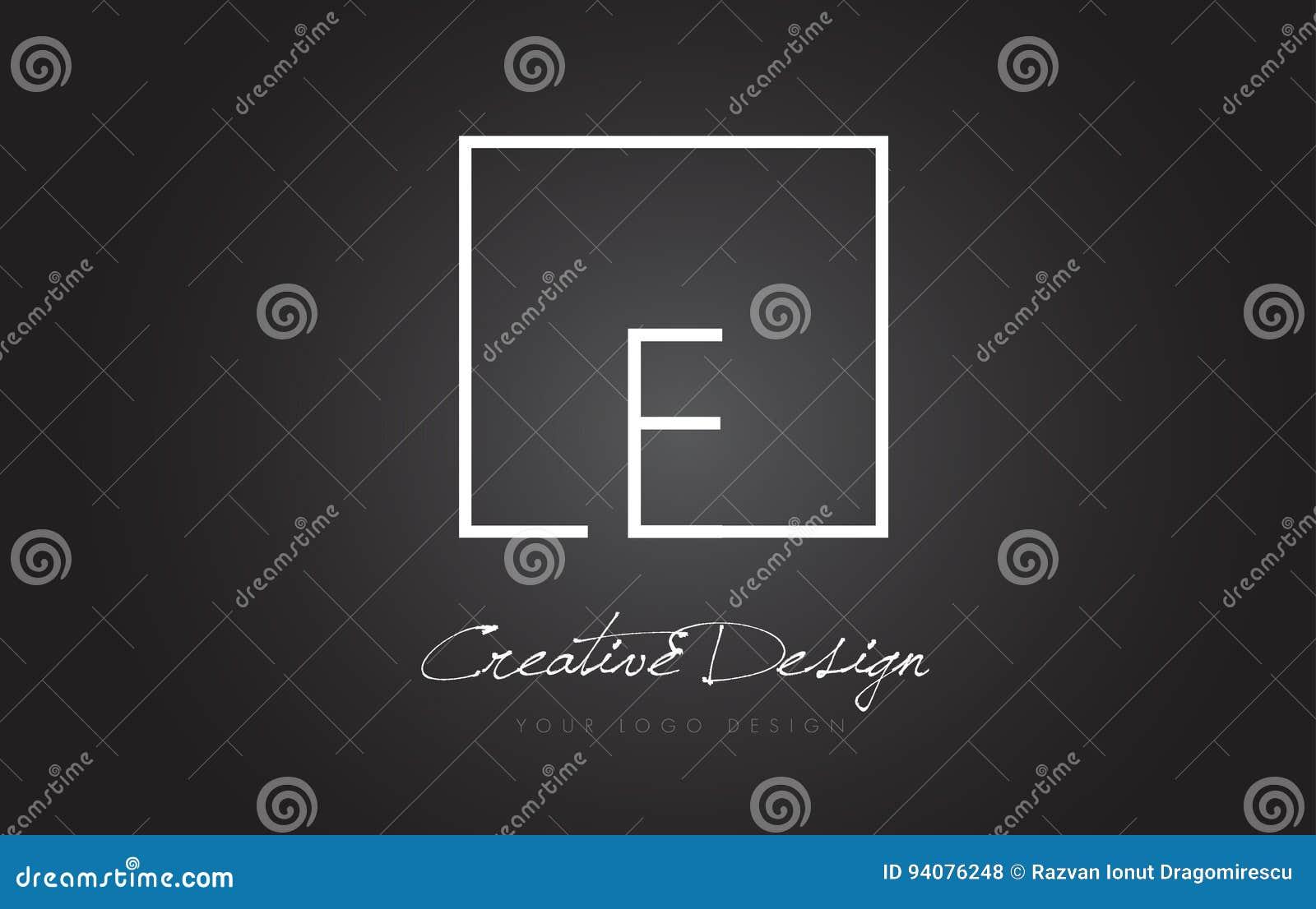 E-Quadrat-Rahmen-Buchstabe Logo Design Mit Schwarzweiss-Farben ...