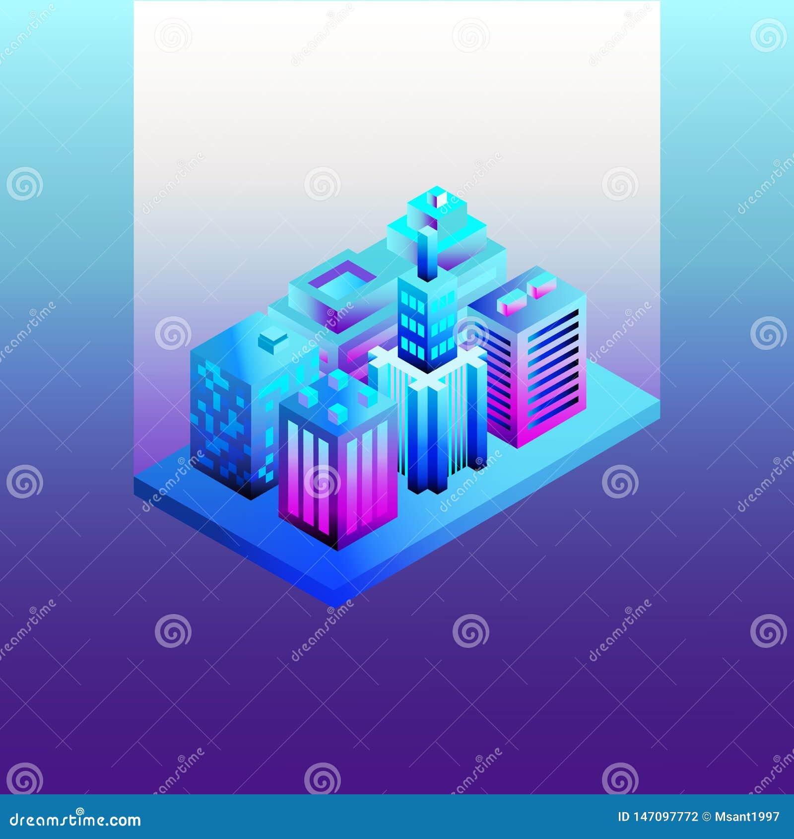 E r översikt 3d av den isometry staden
