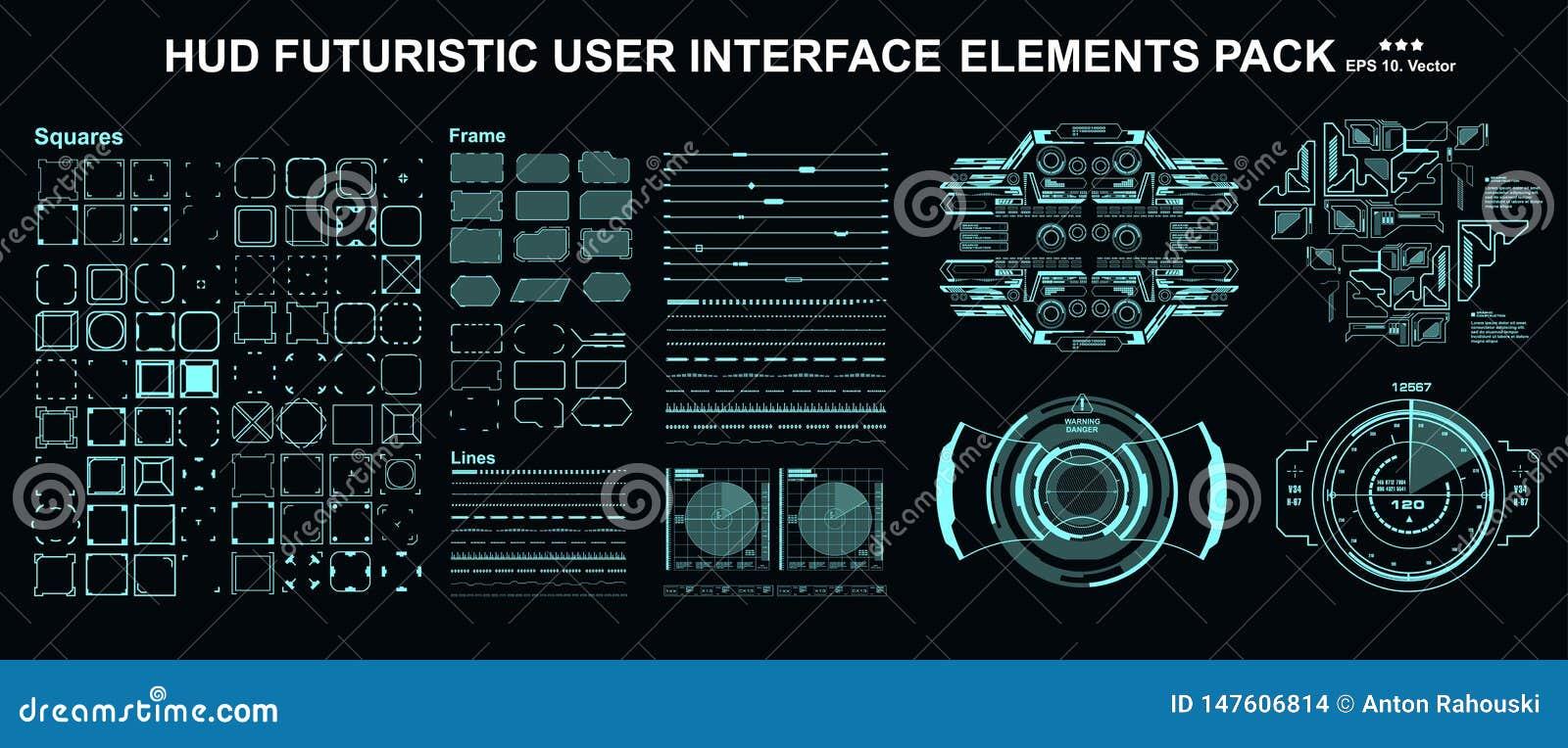 HUD-элементы меганабор пакетов Панель управления отображает экран технологии виртуальной реальности Интерфейс пользователя будуще