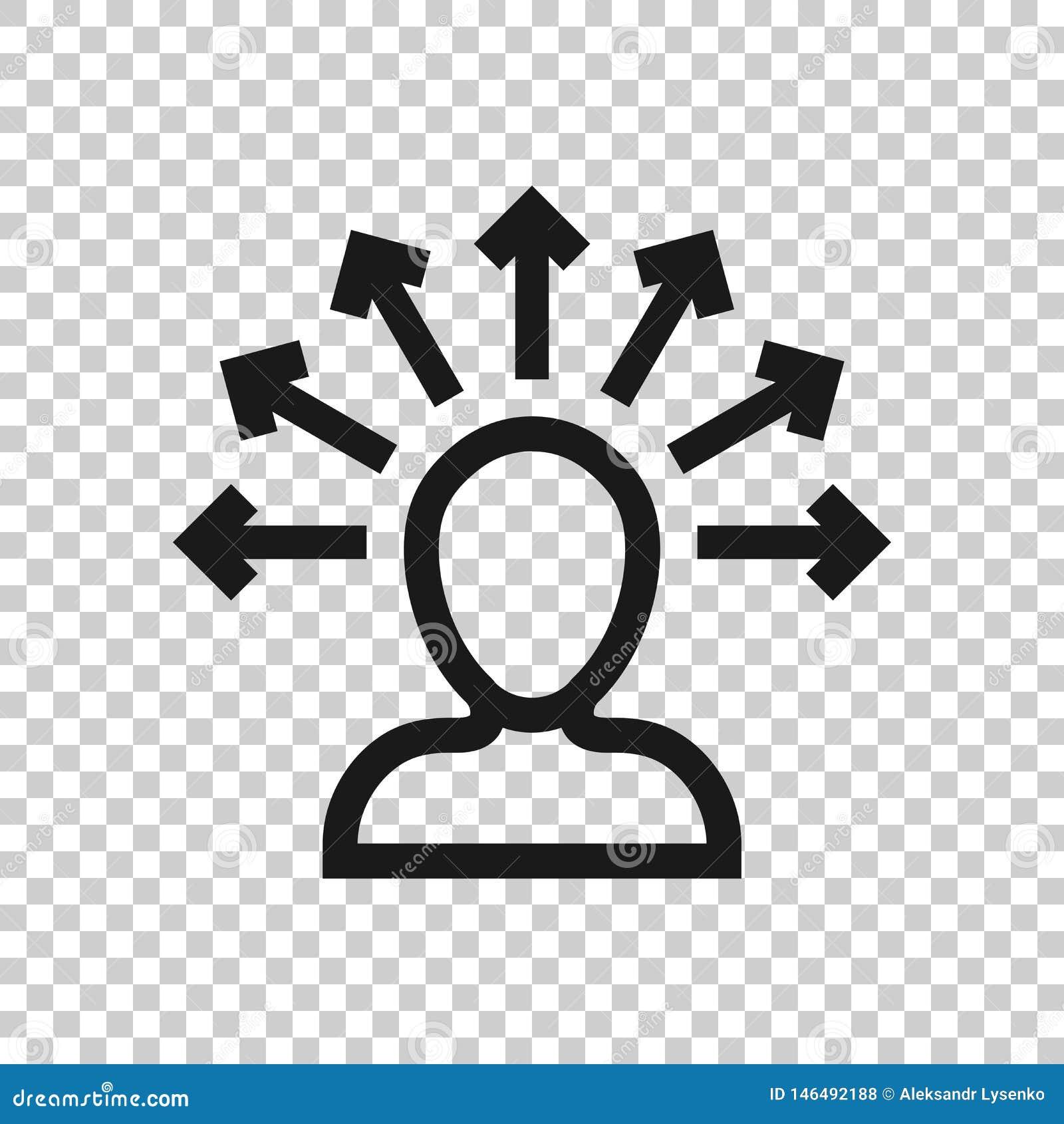 透明风格的意识图标 孤立背景下的理想人类矢量图解 客户头脑商业概念