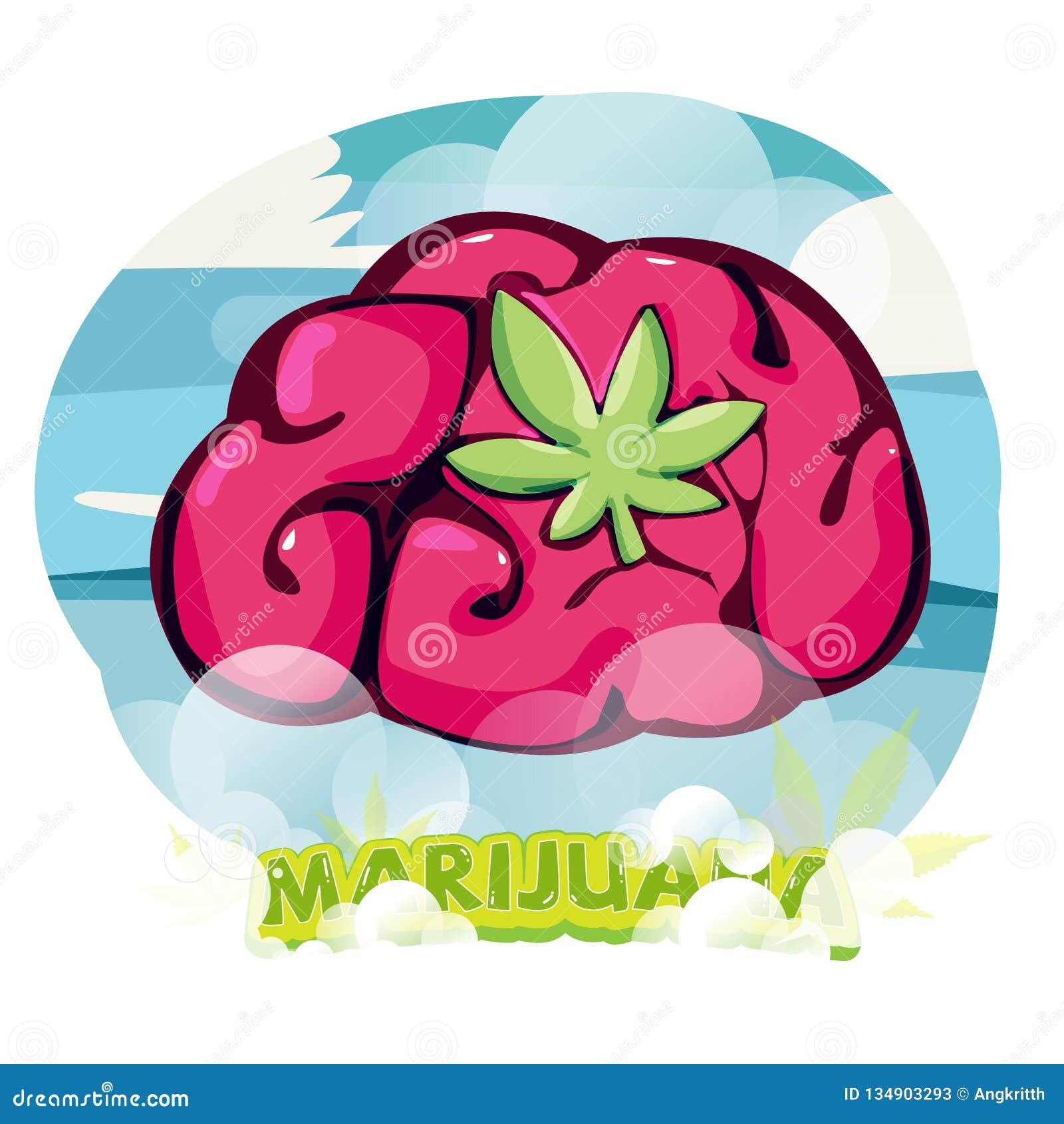 Cervello con Marijuana Leaf effetto marijuana elevato guarigione mediante cannabis - illustrazione vettoriale