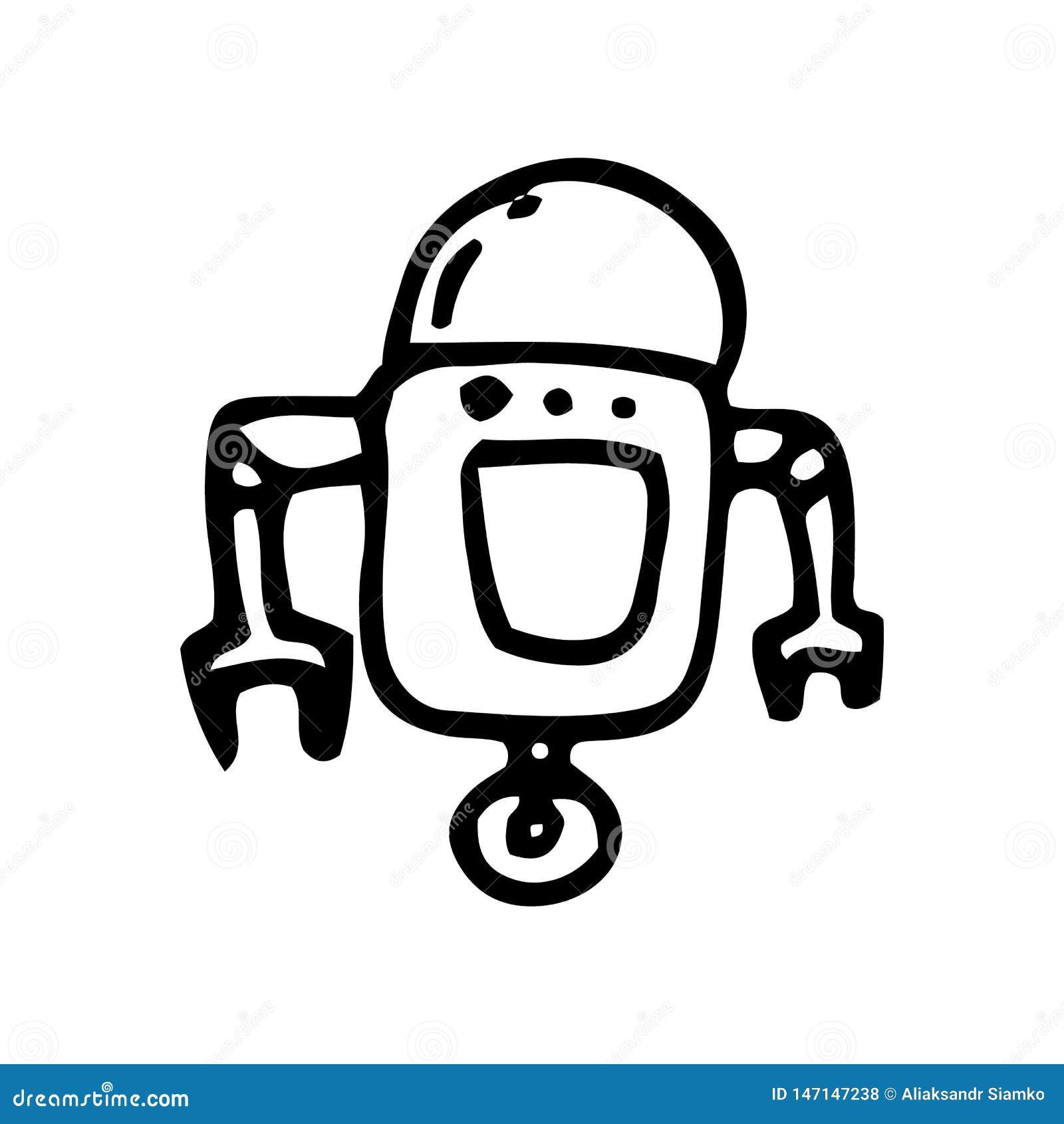 Рукодробот-дудель Значок стиля рисования Элемент декорации Изолировано на белом фоне Плоский дизайн Иллюстрация вектора