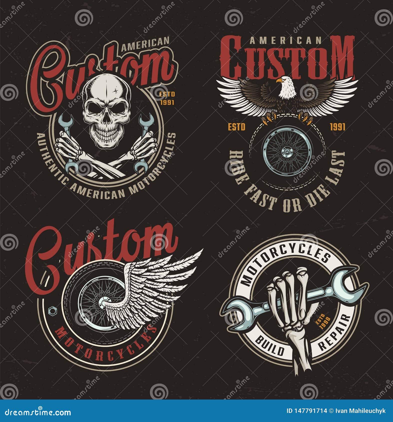 Etiketter för beställnings- motorcykel för tappning färgrika