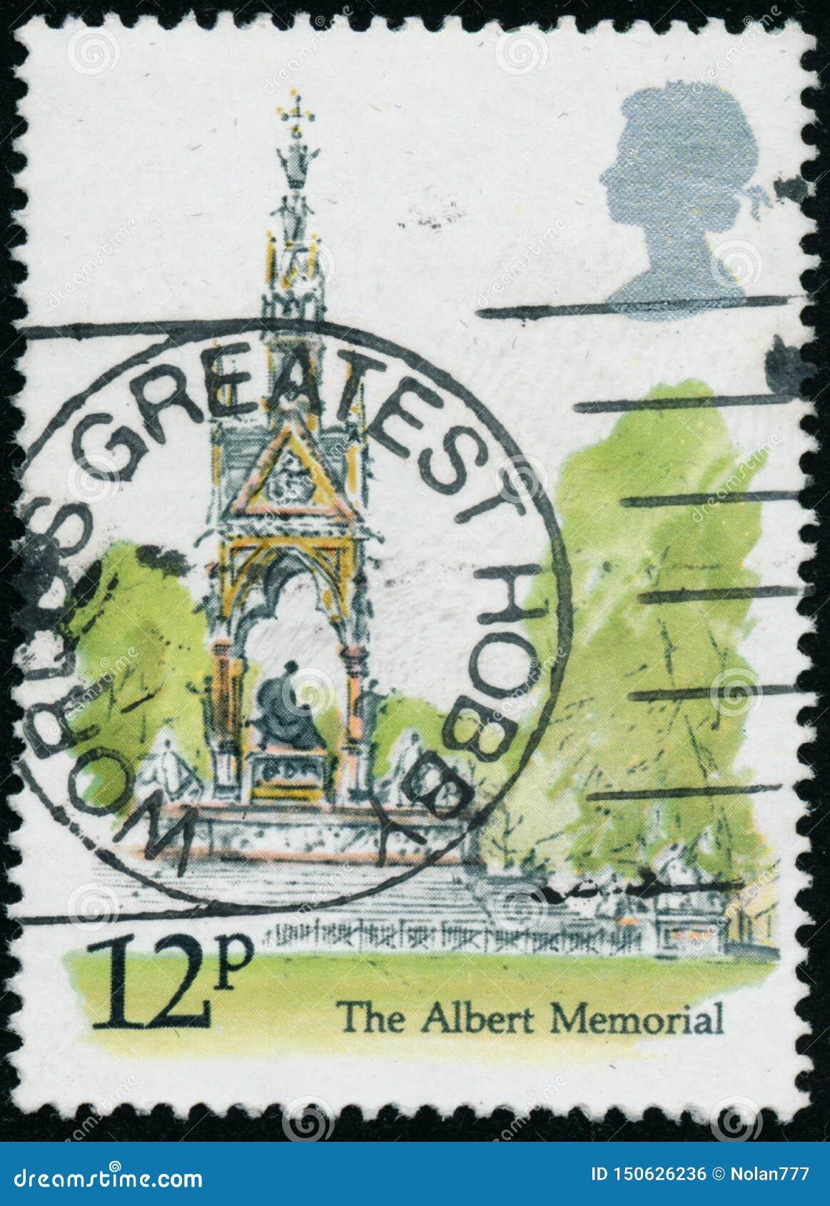 Rocznika znaczek drukujący w Wielkim Brytania 1980 pokazuje Albert pomnika