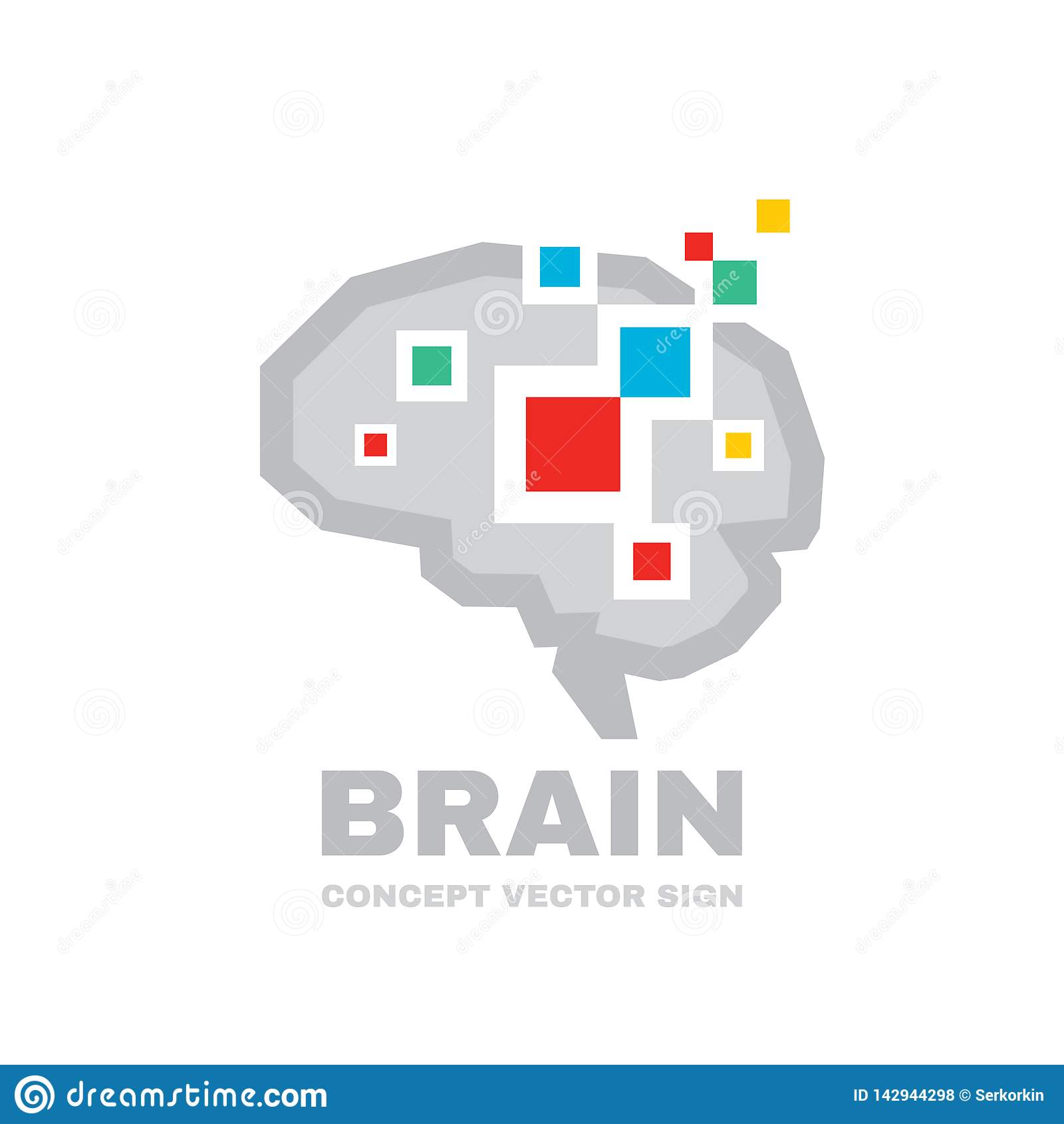 人脑-商业矢量徽标模板概念图示 抽象几何结构 心智教育符号 图解