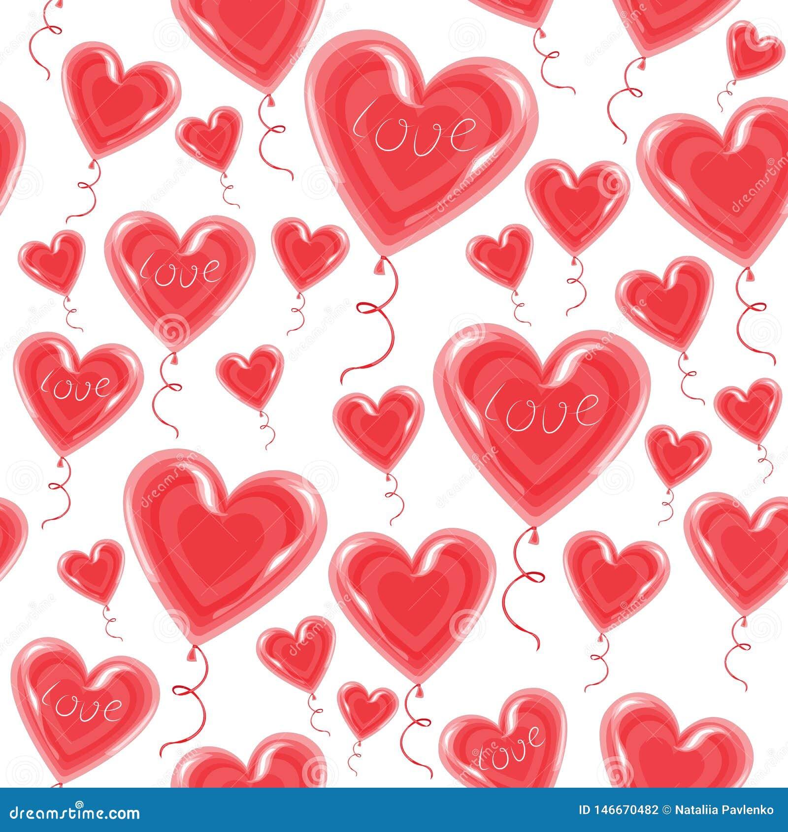 Balões de ar na forma de uma mosca cardíaca no céu Um símbolo de amor e amantes Dia dos Namorados Ilustração vetorial