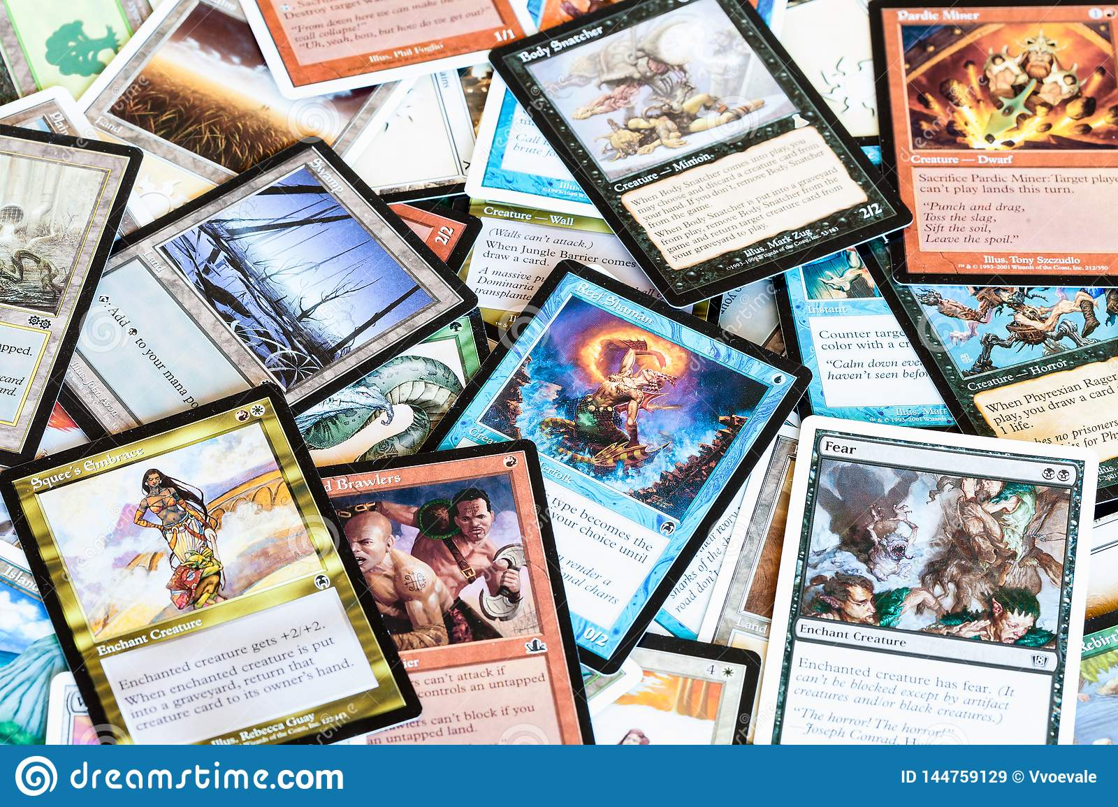 Various Cards Of Magic The Gathering Board Game Image Stock Editorial Image Du Magic Game 144759129