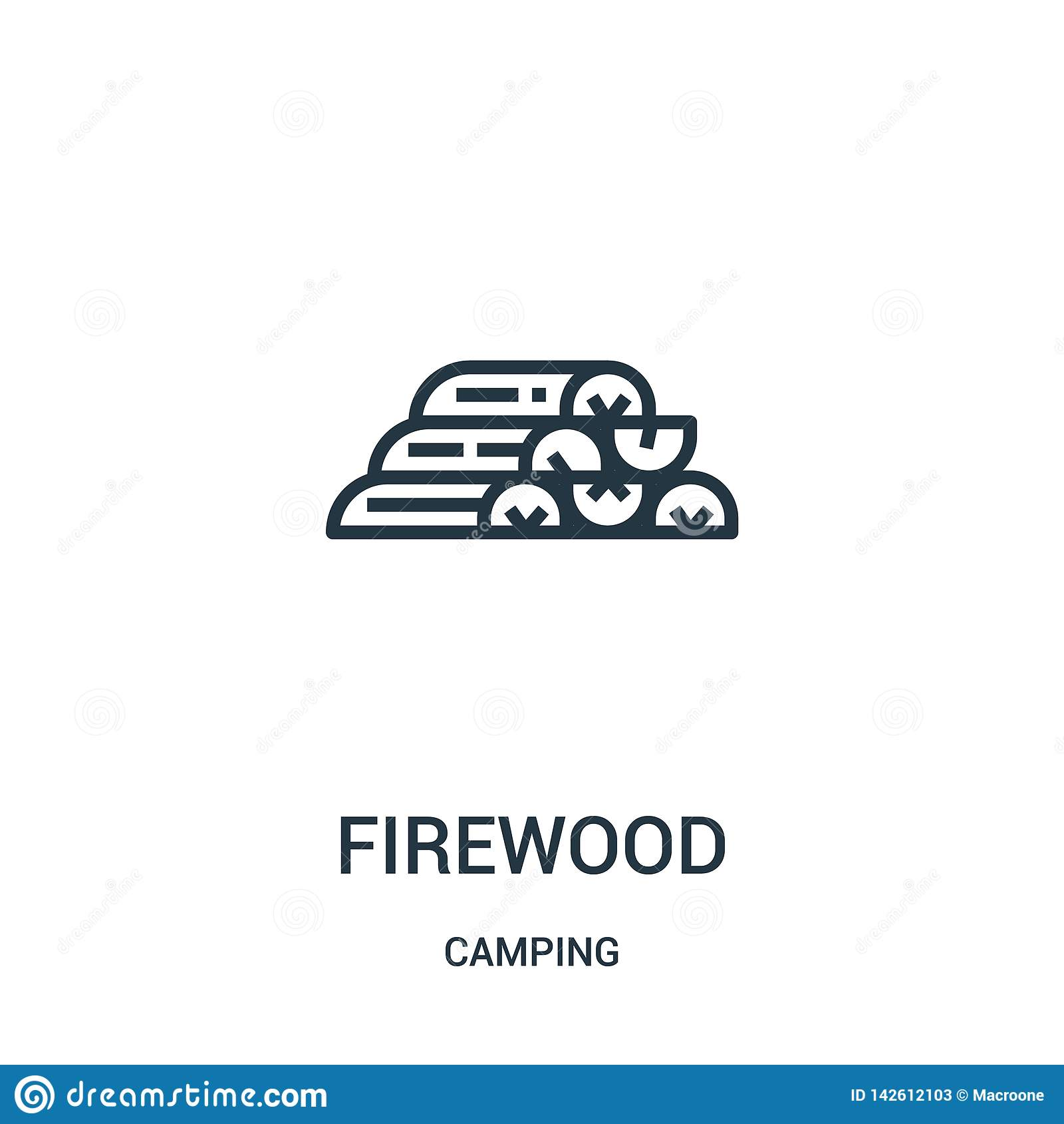 Brandweerpictogram vector van camping inzameling De dun vectorillustratie van het het overzichtspictogram van het lijnbrandhout L
