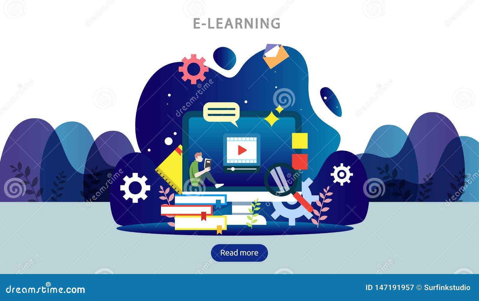 E-learningconcept met computer-, boek- en minuscule personages in het studieproces E-book- of online-onderwijs sjabloon voor web