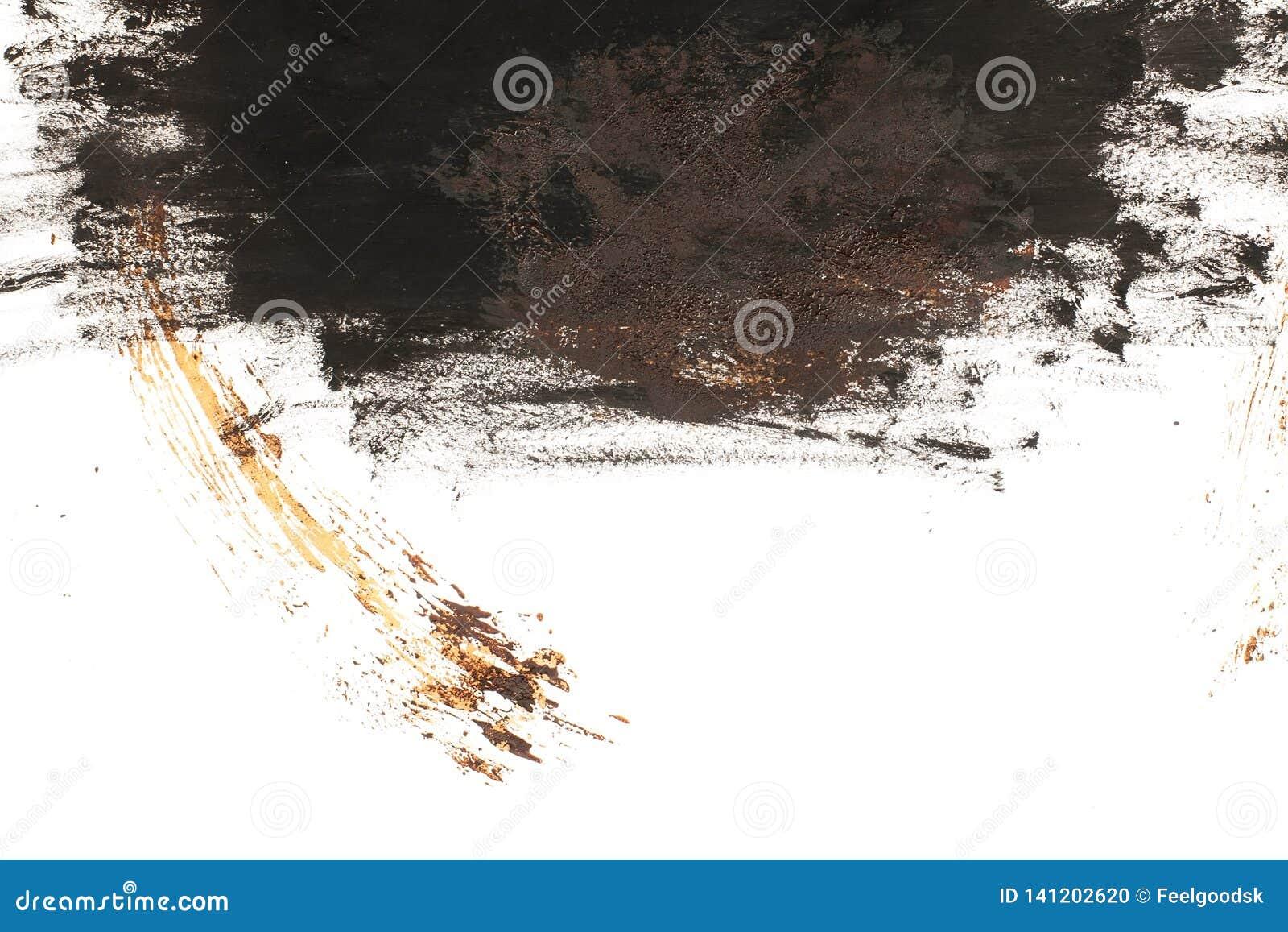 Schwarzer und brauner Fleck auf weißem Grund isoliert Realistische Textur der Aquarellpinsel Aquarellzeichnung