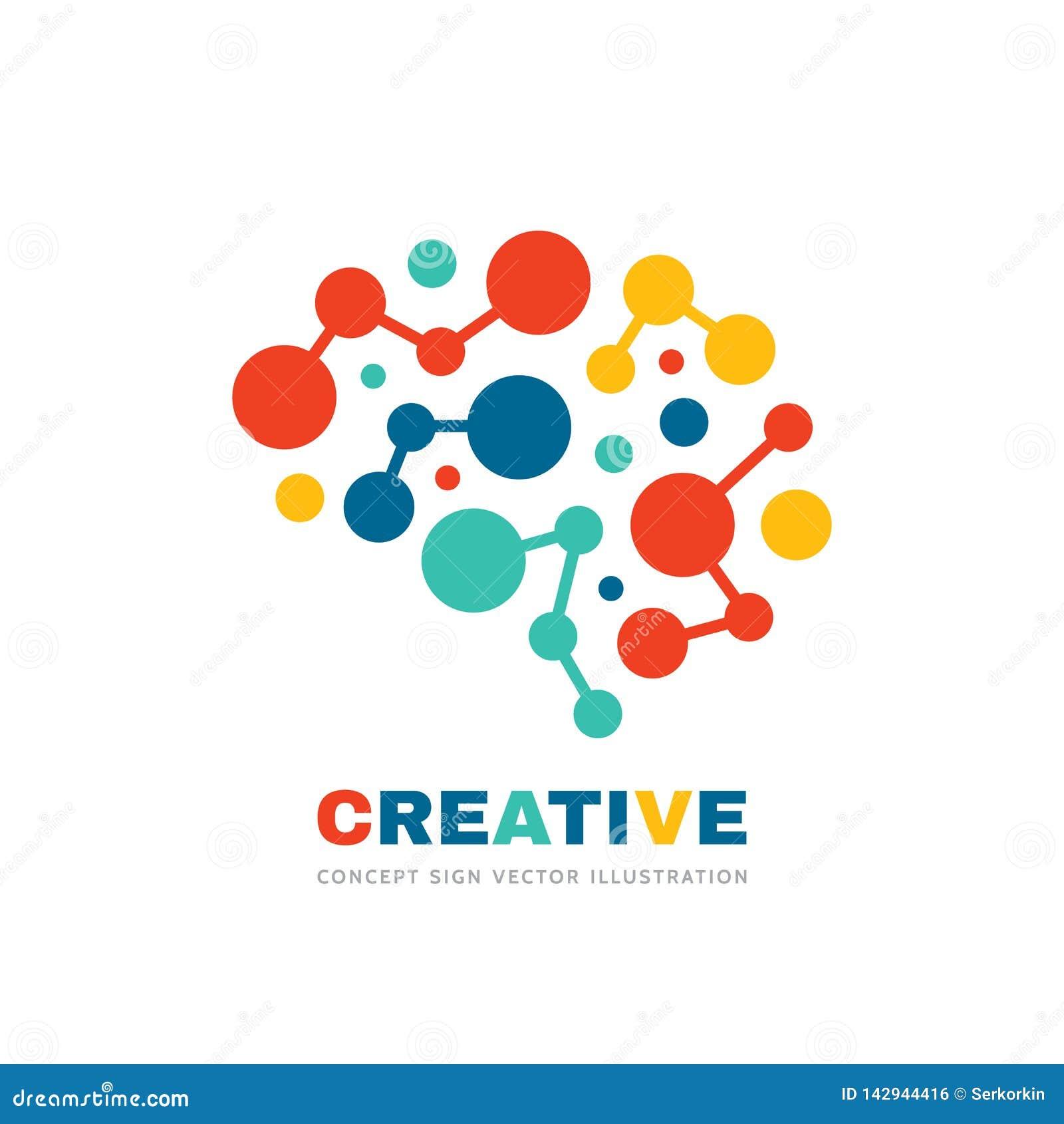 创意-业务矢量徽标模板概念图示 抽象人脑符号 几何着色结构 注意