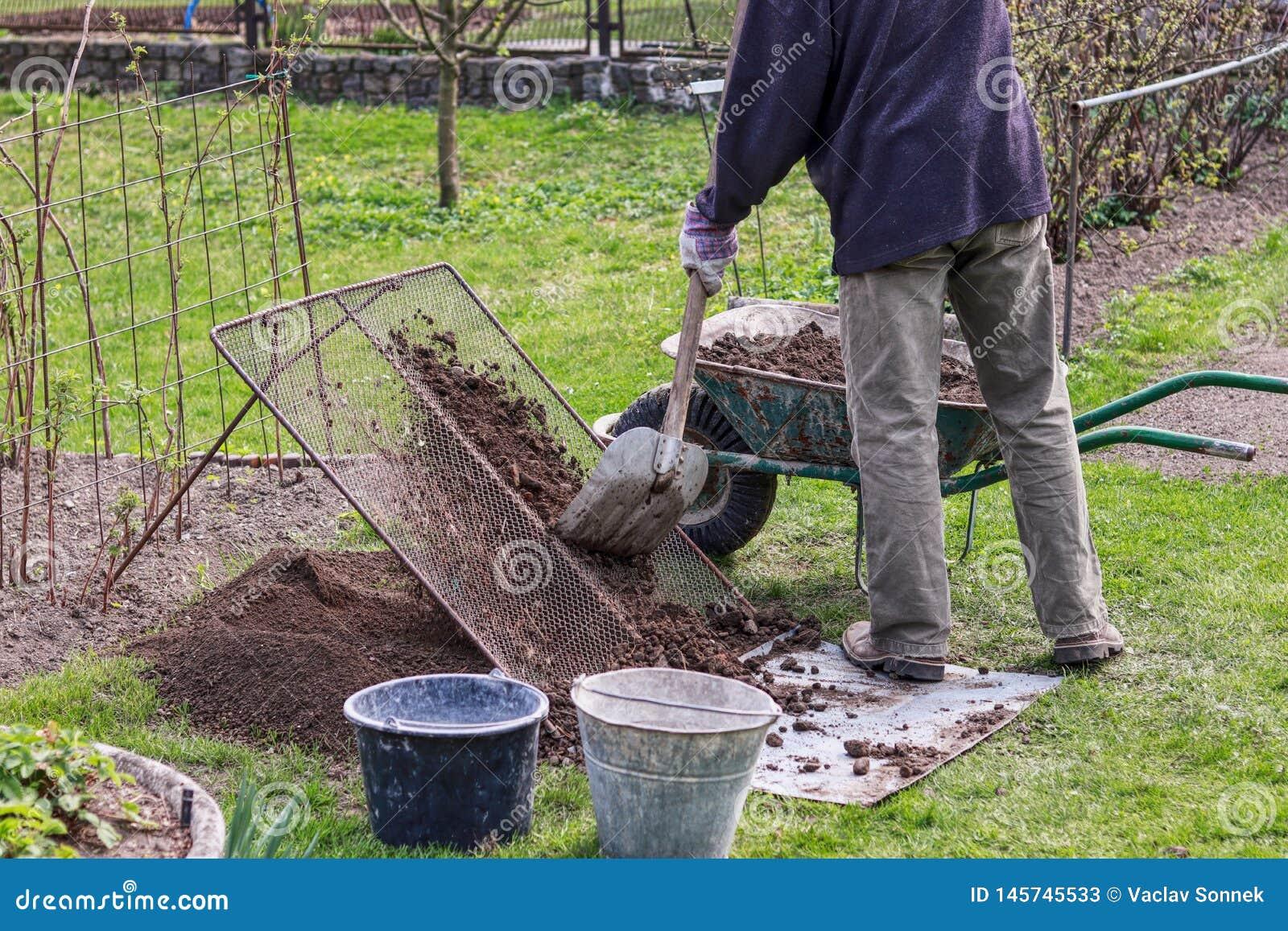 L uomo indossa vestiti da lavoro Il giardiniere prepara la terra per nuovi fiori e alberi Sta setacciando il terreno attraverso u