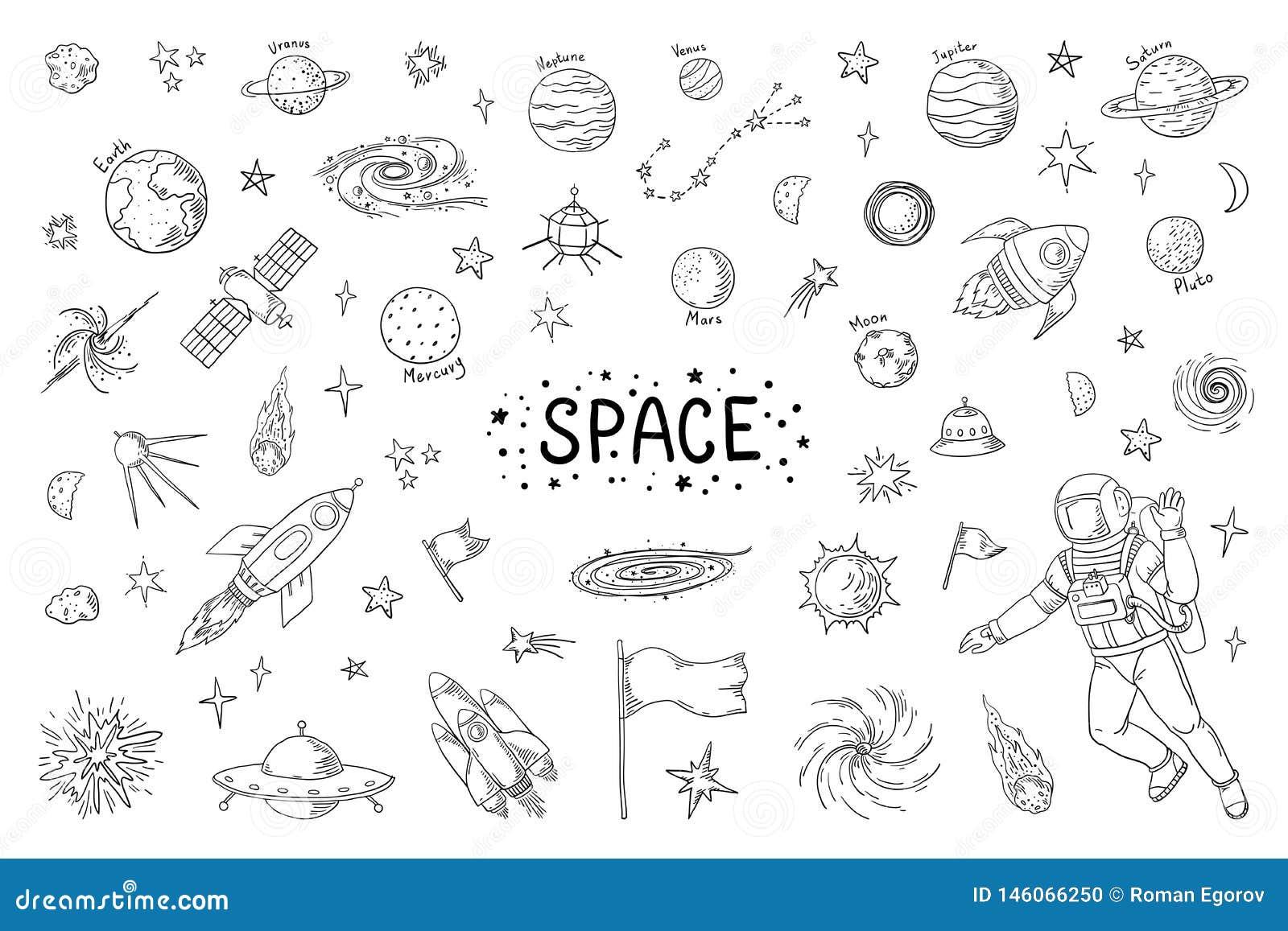 涂鸦空间 时尚宇宙模式星宇流星火箭彗星天文要素 矢量宇宙铅笔