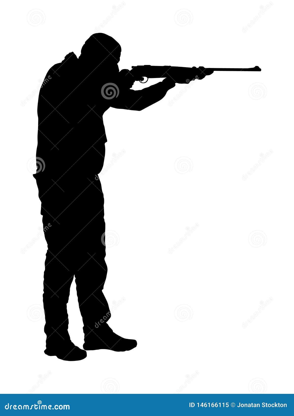 Sträck ut jägare med silhuetteillustration med gevär som isolerats på vit bakgrund Jaktscen utomhus Loggbok