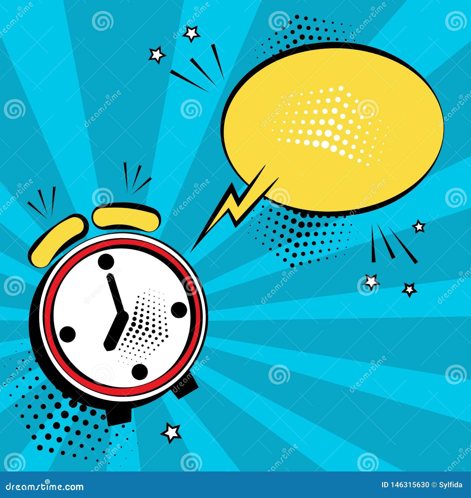 带黄色语音气泡的闹钟 流行艺术风格中的喜剧效果 矢量图