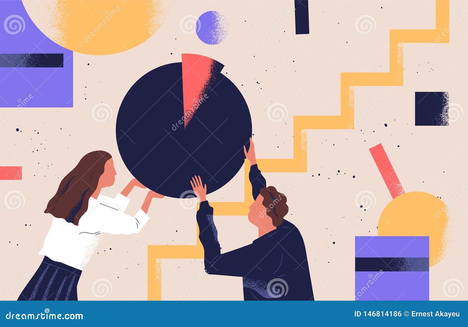 男女组织抽象几何形状 一对拿着圆饼图的人 可爱有趣的男孩,女孩