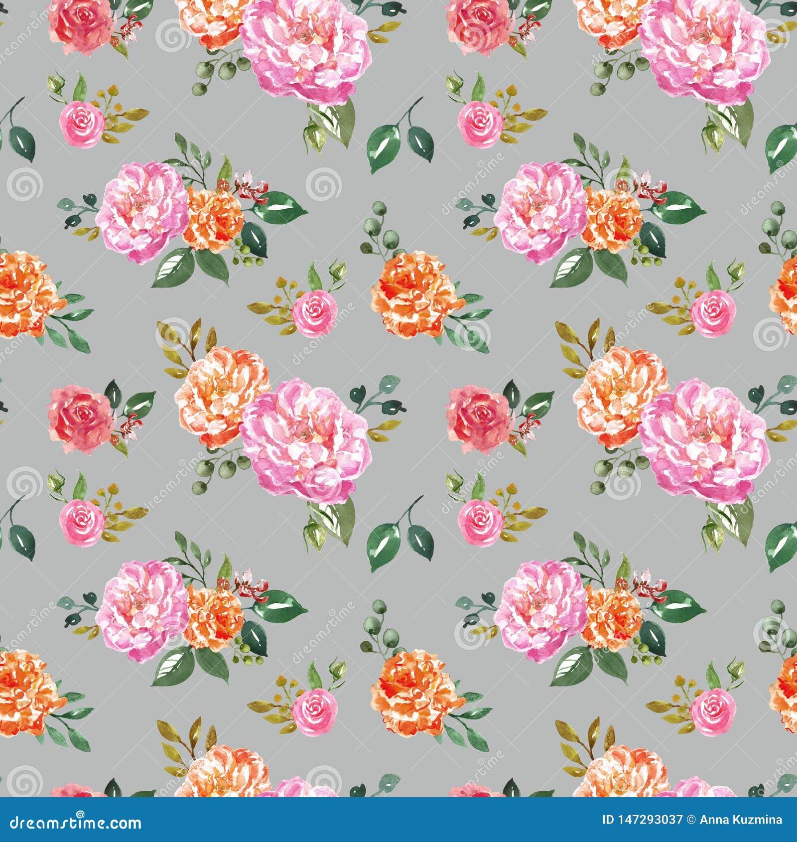 Καθιερώνον τη μόδα floral άνευ ραφής σχέδιο watercolour r Βοτανική τυπωμένη ύλη