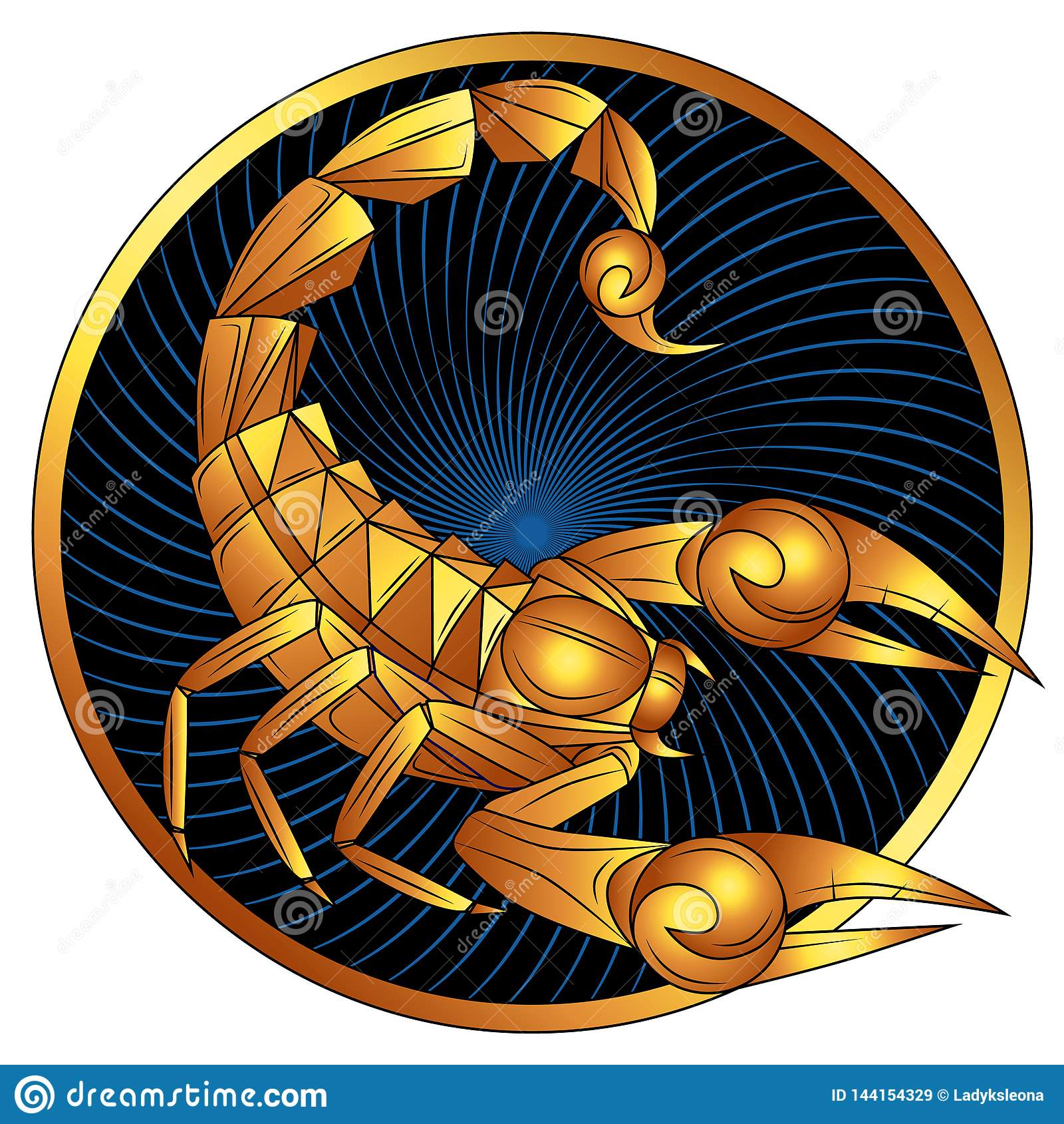 Scorpio Golden Zodiac Sign Vector Horoscope Symbol Vektor