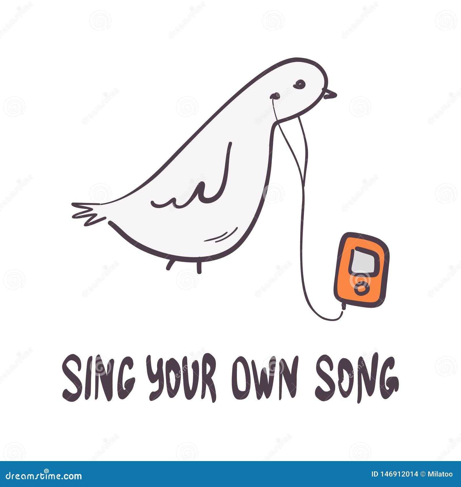 Hand-getekende grappige duif met speler en motivatie citaat Positieve gemoedstekst met vectorilustratie van de vogelcartoon Typog