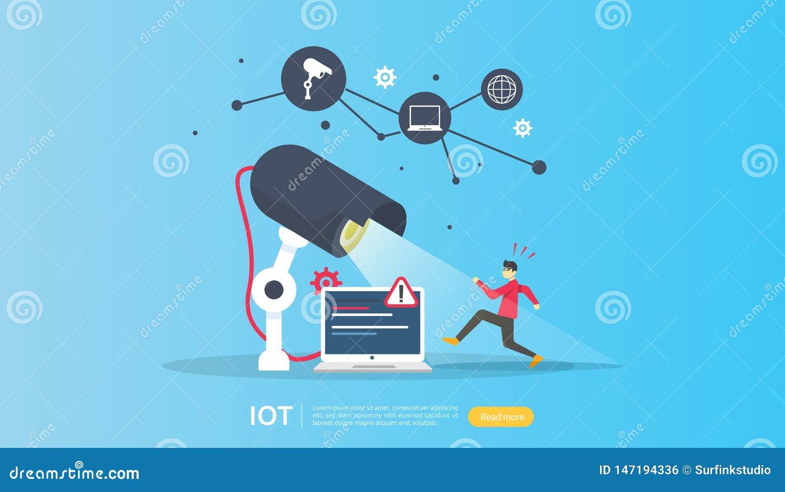 Monitorado de cámara de seguridad CCTV ladrón impactado detectado Internet IOT de cosas concepto de casa inteligente para la indu