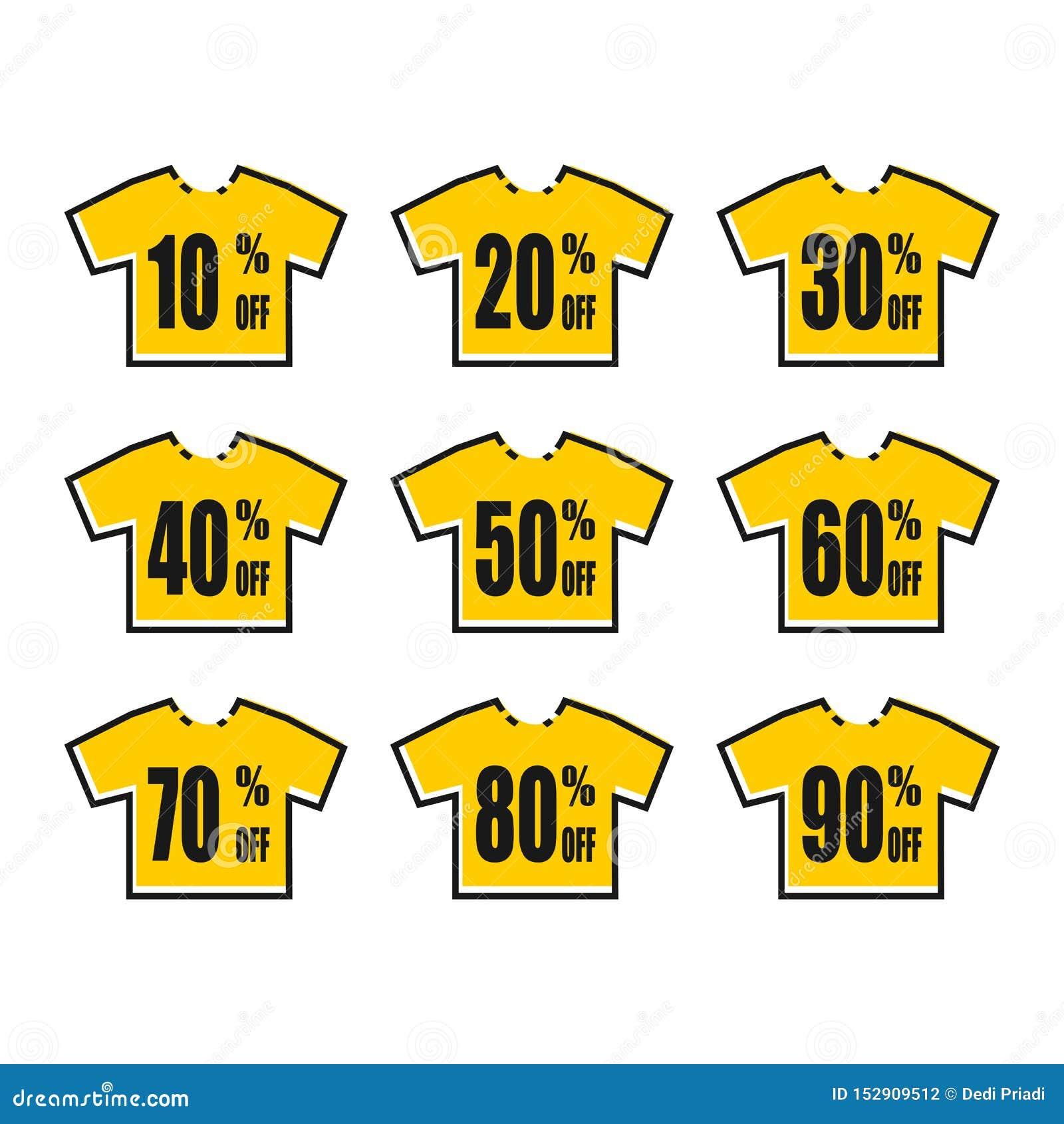 E Rabatt med det olika priset Upps?ttning av f?rs?ljningsetiketten T-skjorta för orientering för erbjudande för Promoetikettsraba