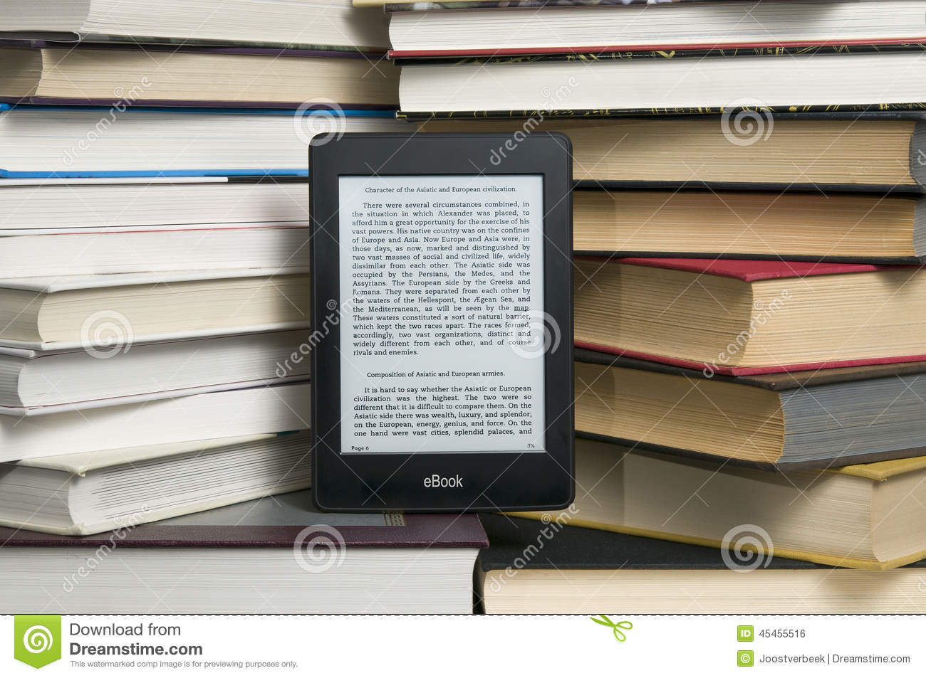 E Reader Versus Textbook Stock Photo Image Of Ebook 45455516