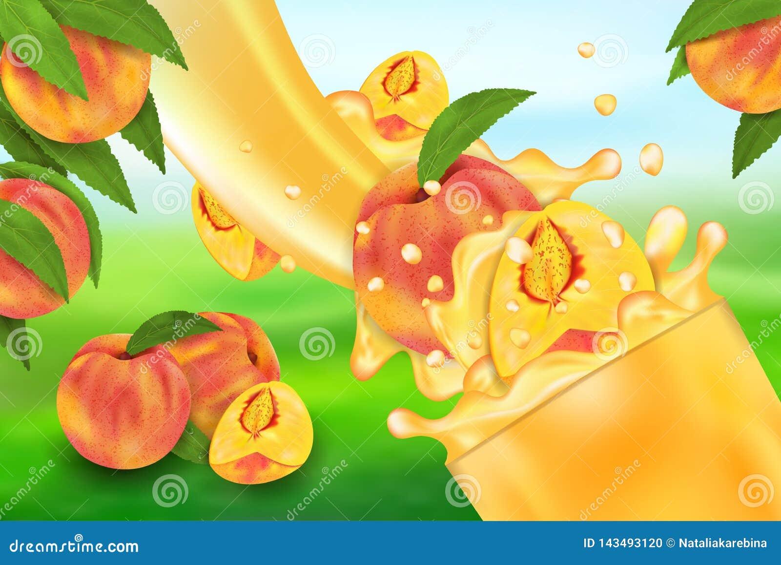 E Stroom van vloeistof met dalingen en zoete fruit 3d realistische vectorillustratie, pakketontwerp of affiche
