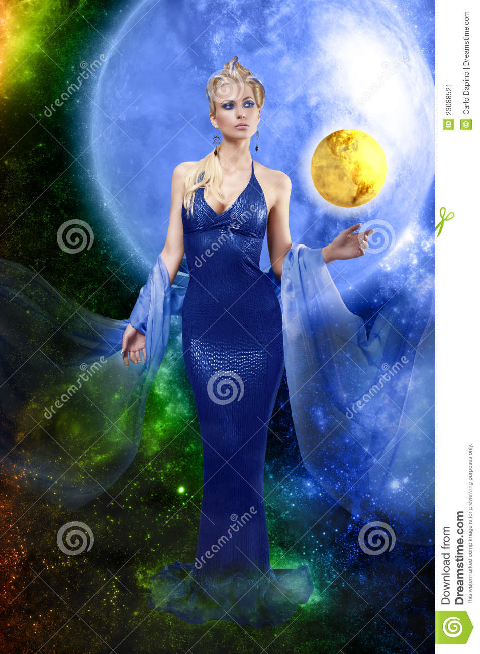 E.T. lady with golden planet