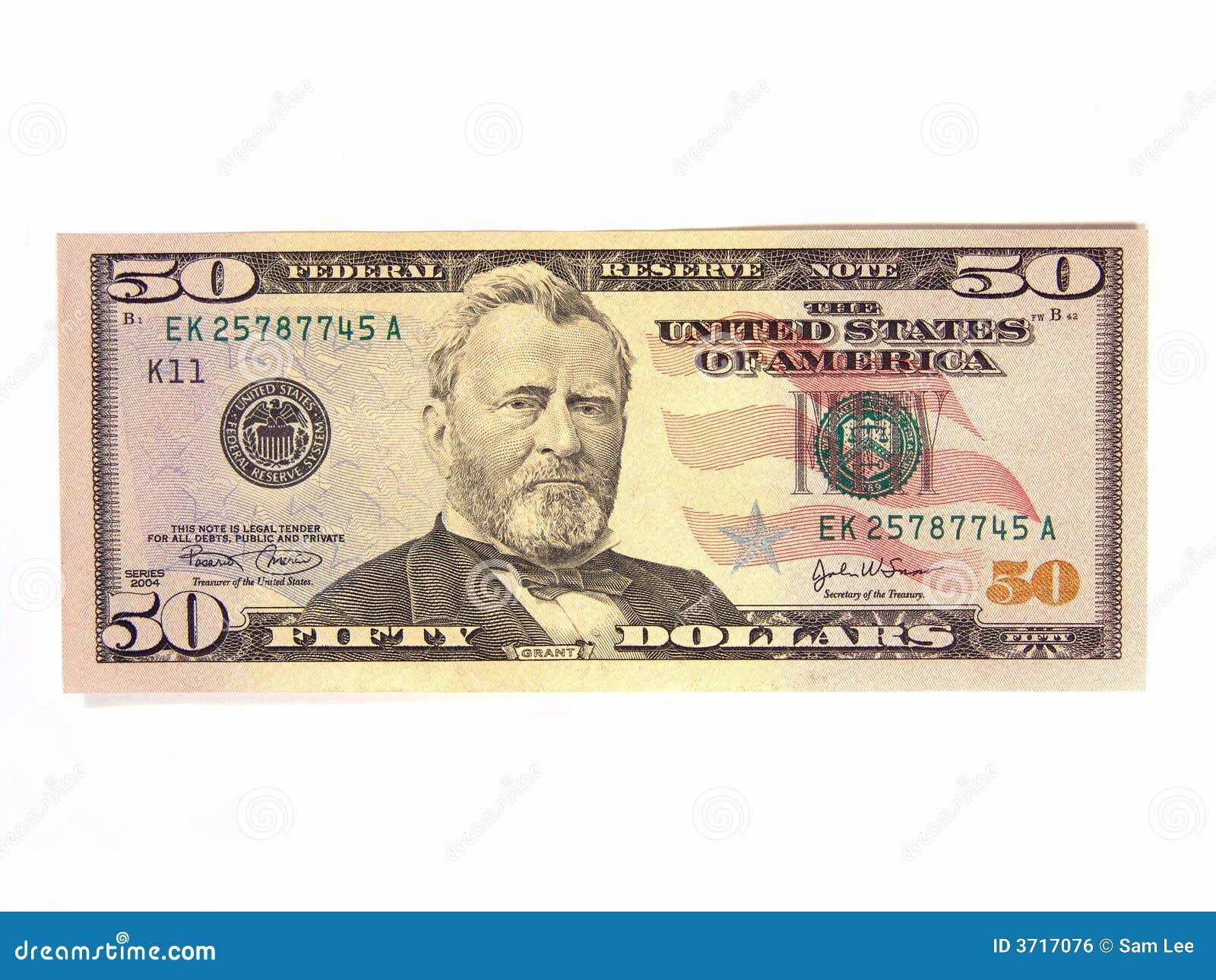 E.U. cinqüênta contas de dólar
