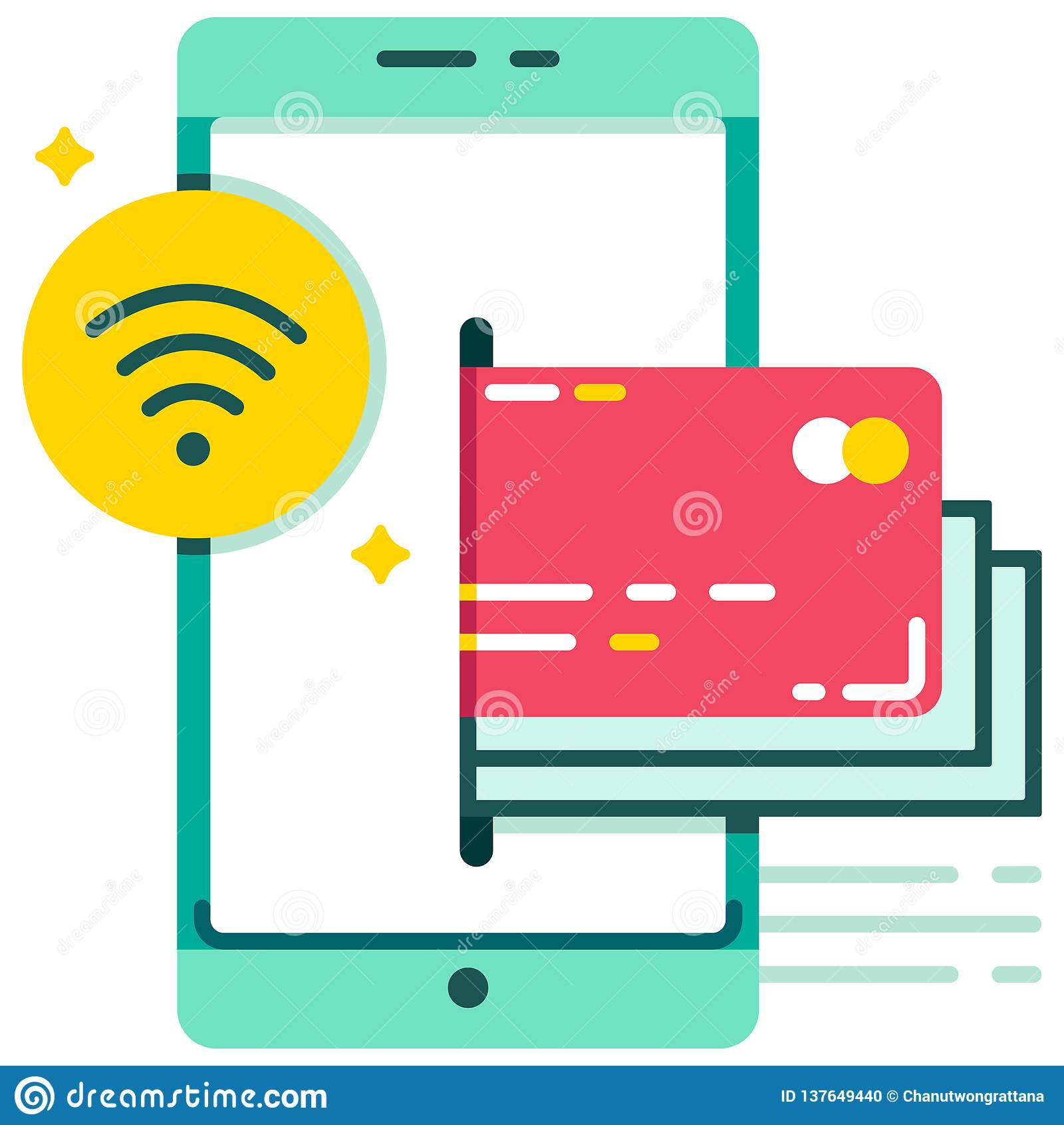E-wallet Near-filed communication payment flat illustration