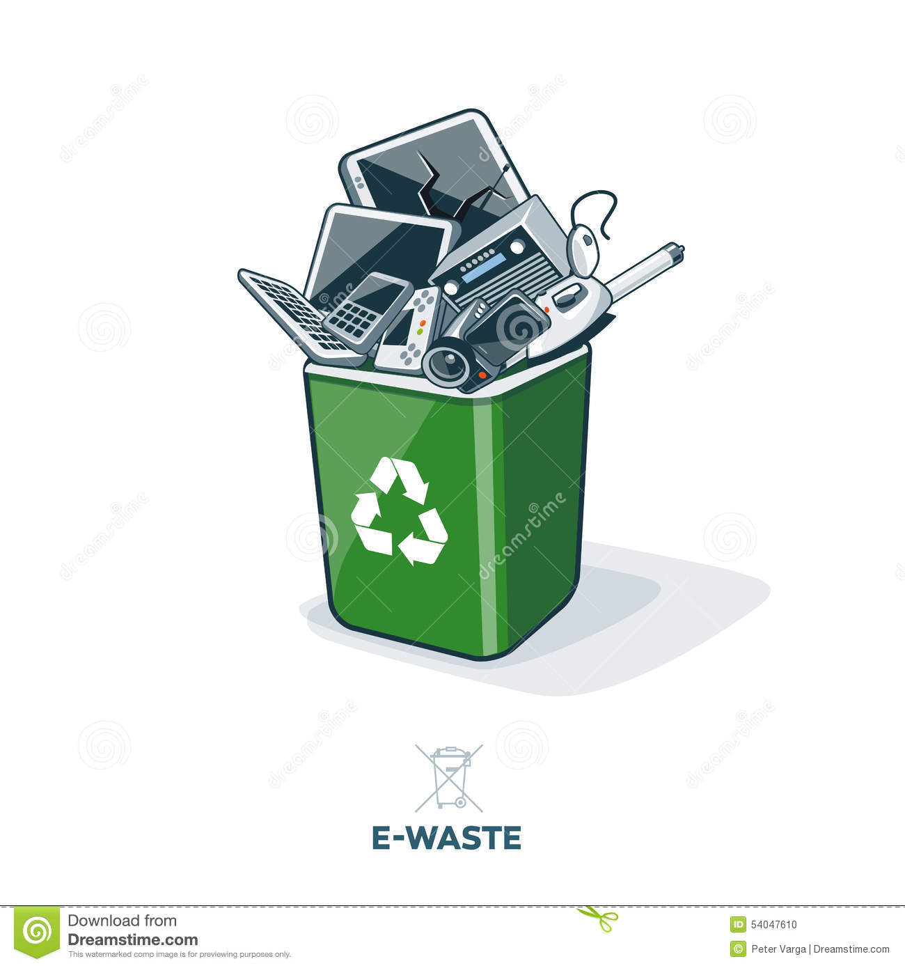 E Waste In Recycling Bin Stock Vector Image 54047610