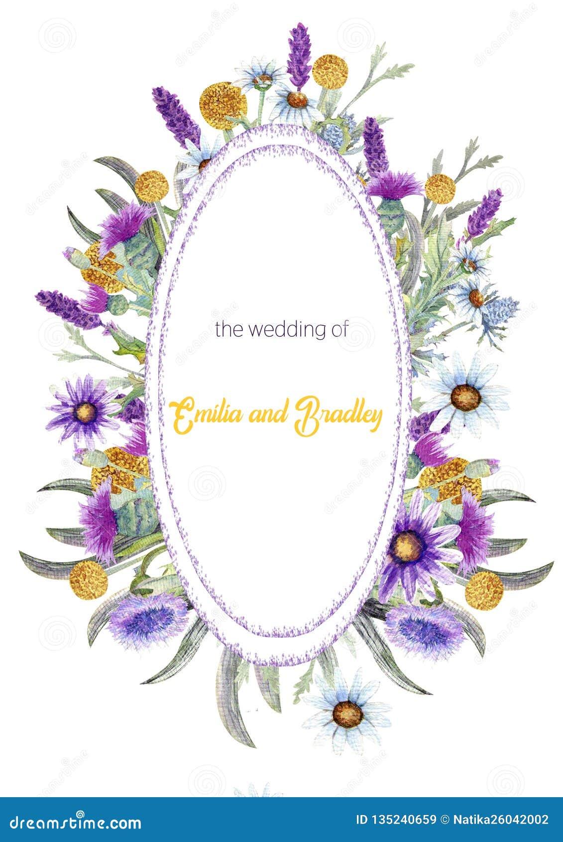 E watercolor arranjo de flor Projeto do molde do cartão invitation