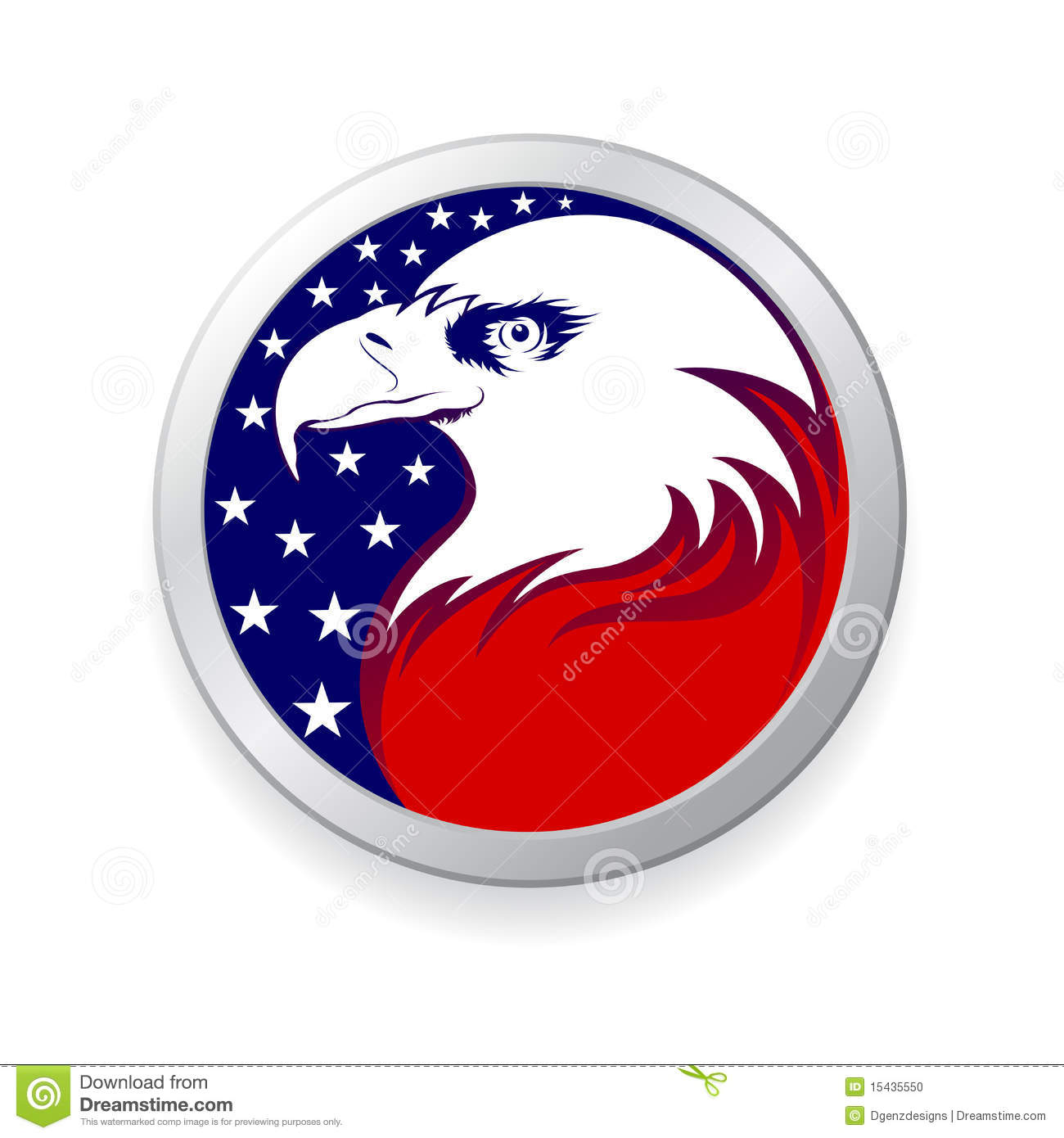 Eagle With American Flag Stock Vector Illustration Of Outline