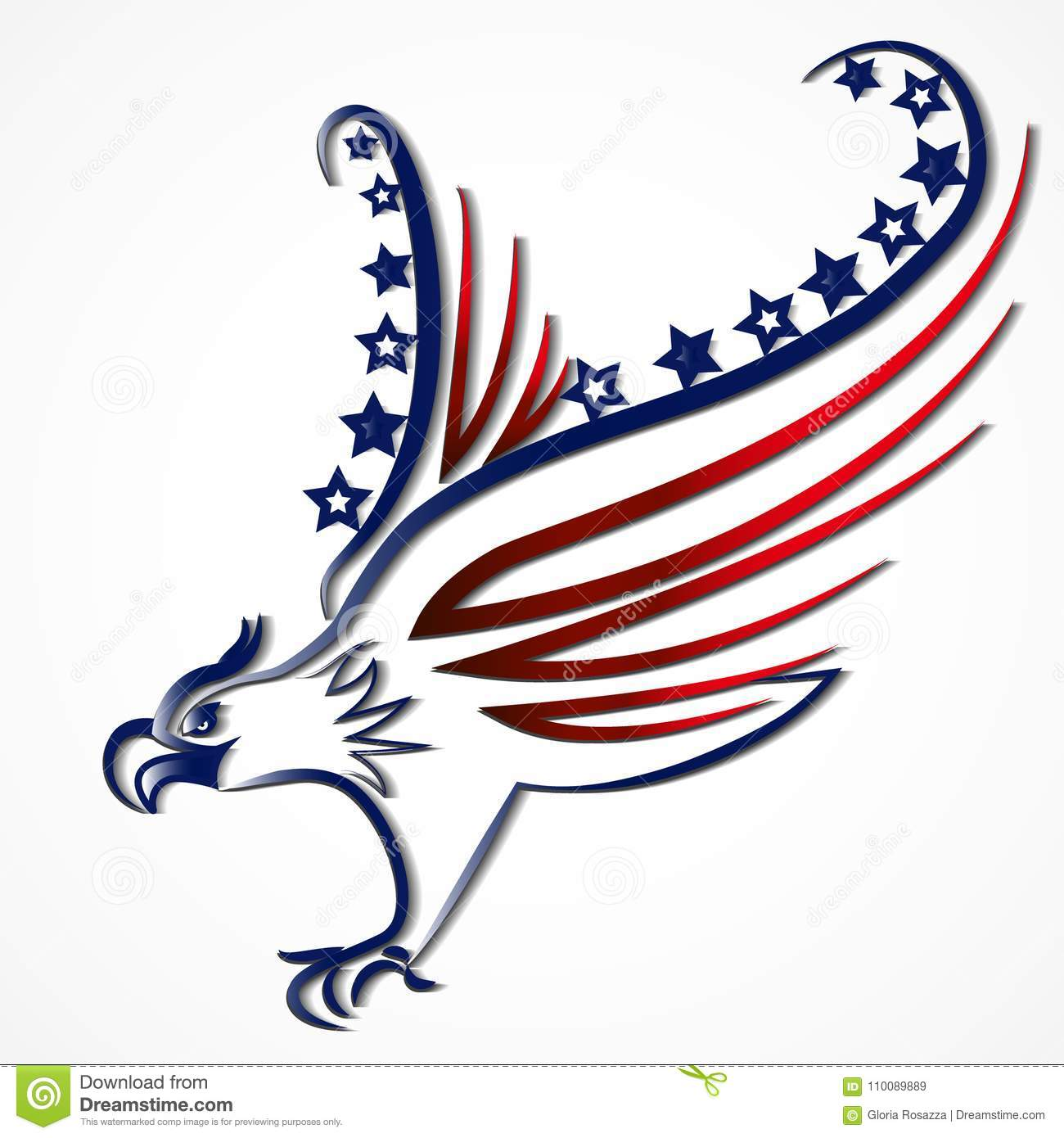 Eagle American Usa Flag Icon Logo Vector Stock Vector