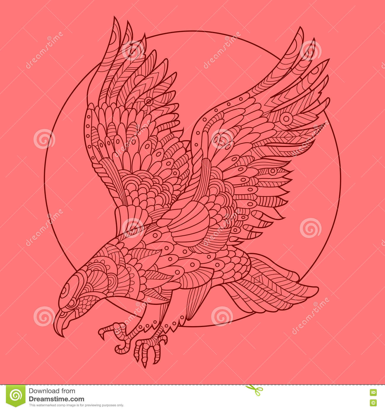 eagle bird coloring book adults vector illustration anti stress adult tattoo stencil zentangle style black