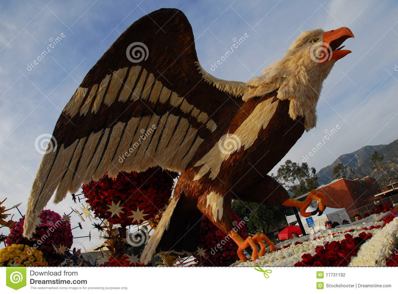 eagle bird float at the 122nd tournament of roses editorial