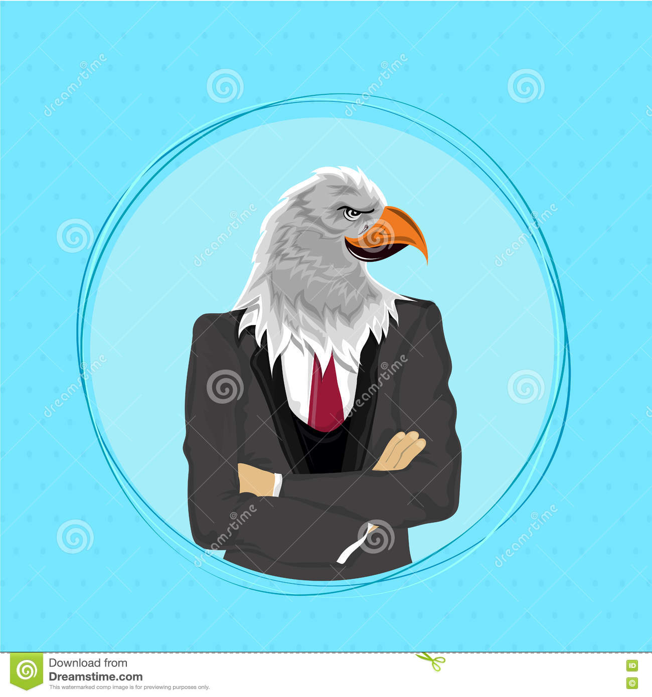 Eagle Bird In Suit, Anthropomorphic Design. Stock Illustration ...