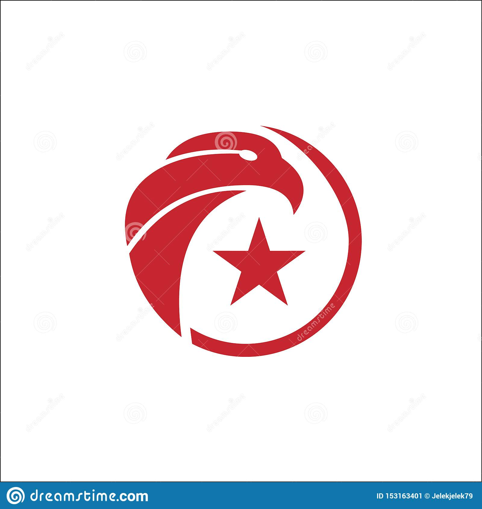 Eagle circle with star Vector Logo Template