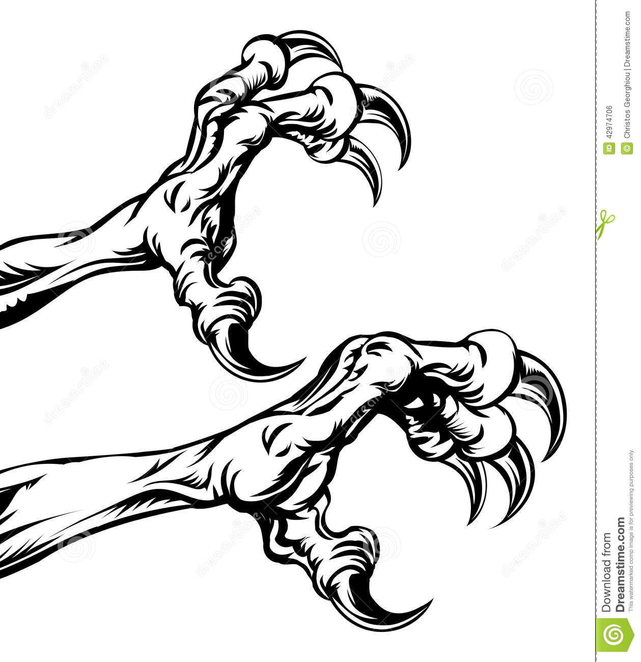 An illustration of eagle or monster animal claws or talons.